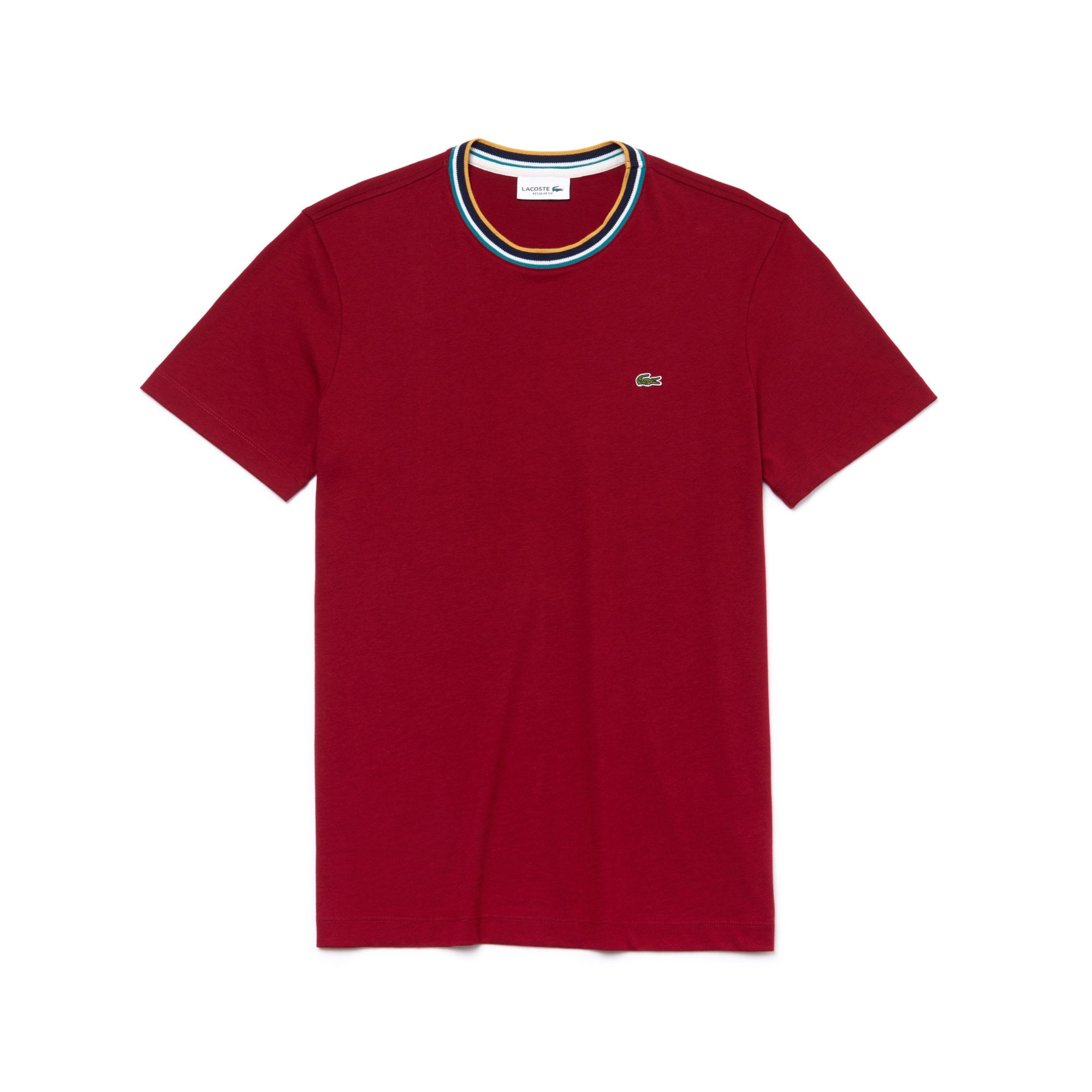 라코스테 Lacoste Mens Striped Ribbed Crew Neck Cotton Jersey T-shirt,bordeaux