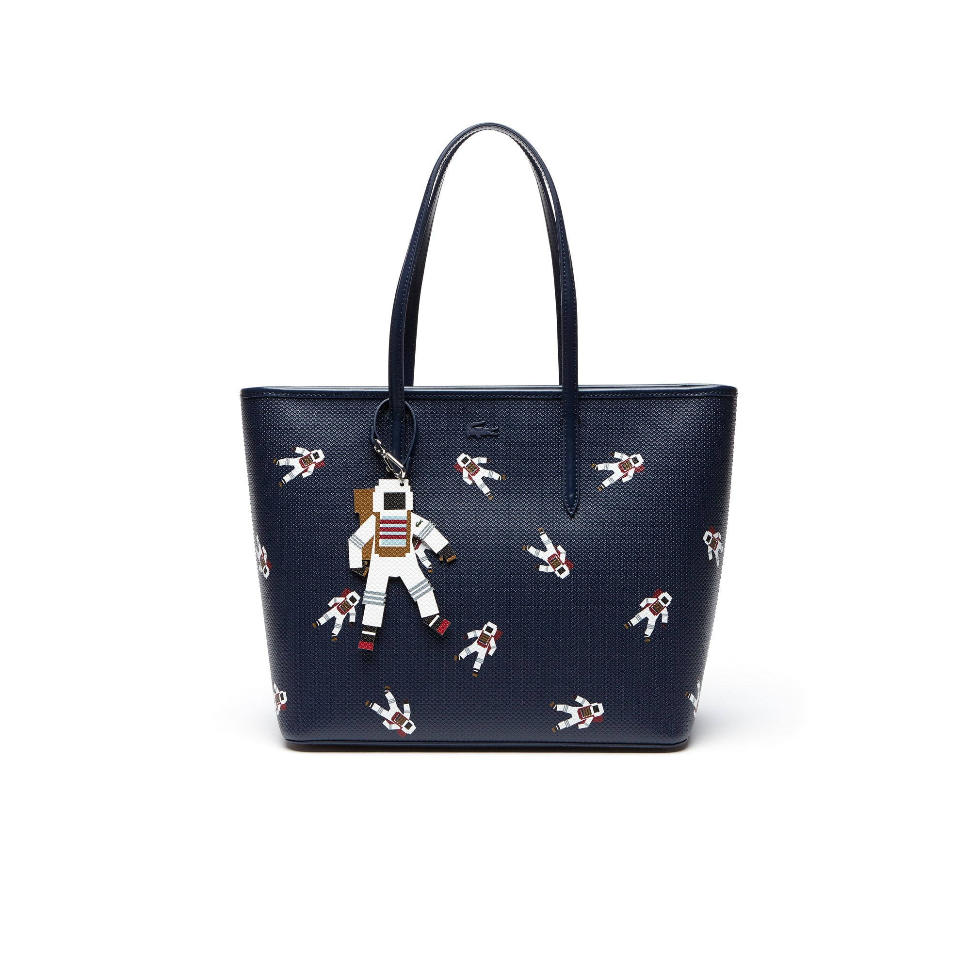 Women's Chantaco Zippered Astronaut Print Leather Tote Bag