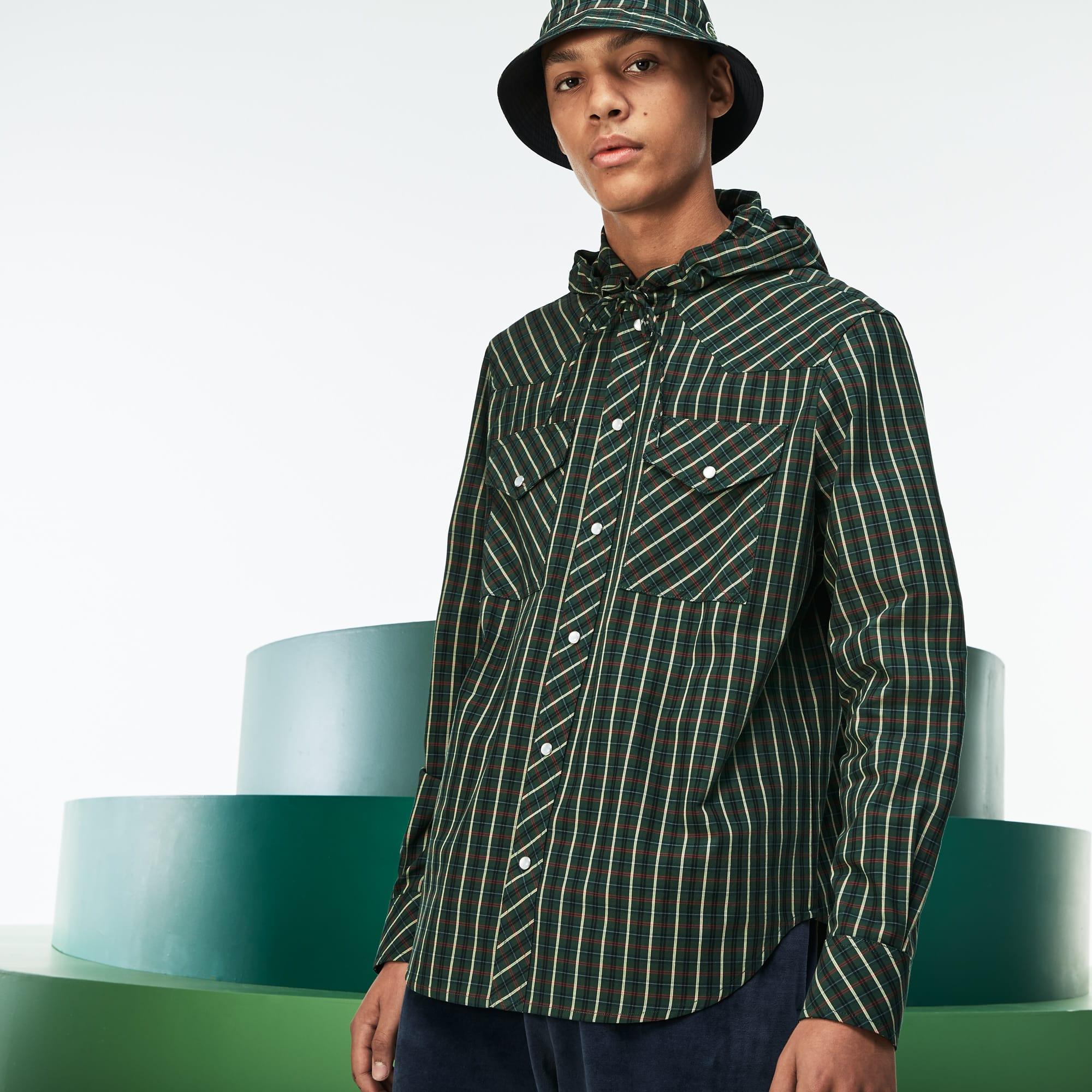 Men's Fashion Show Hooded Check Poplin Shirt
