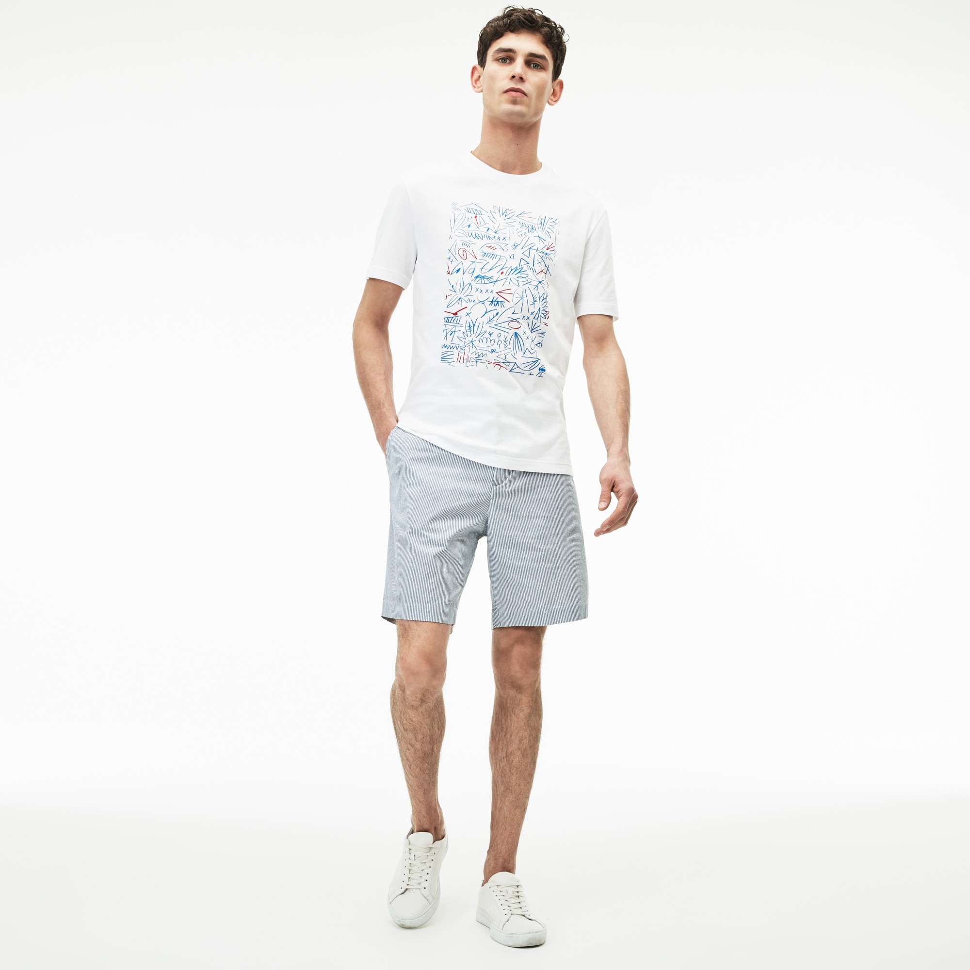 Men's Regular Fit Seersucker Bermuda Shorts