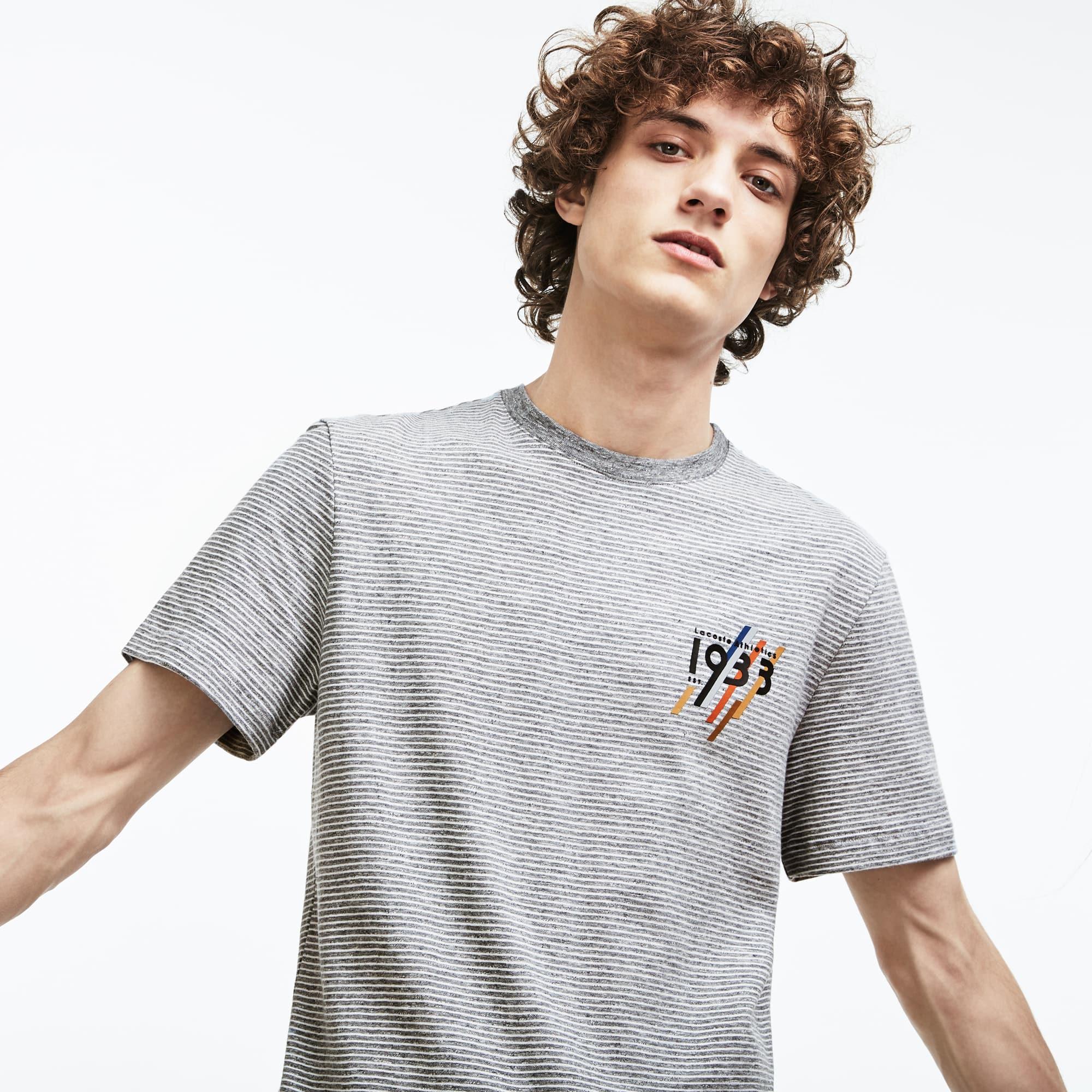 Men's Crew Neck 1933 Lettering Striped Cotton Jersey T-shirt