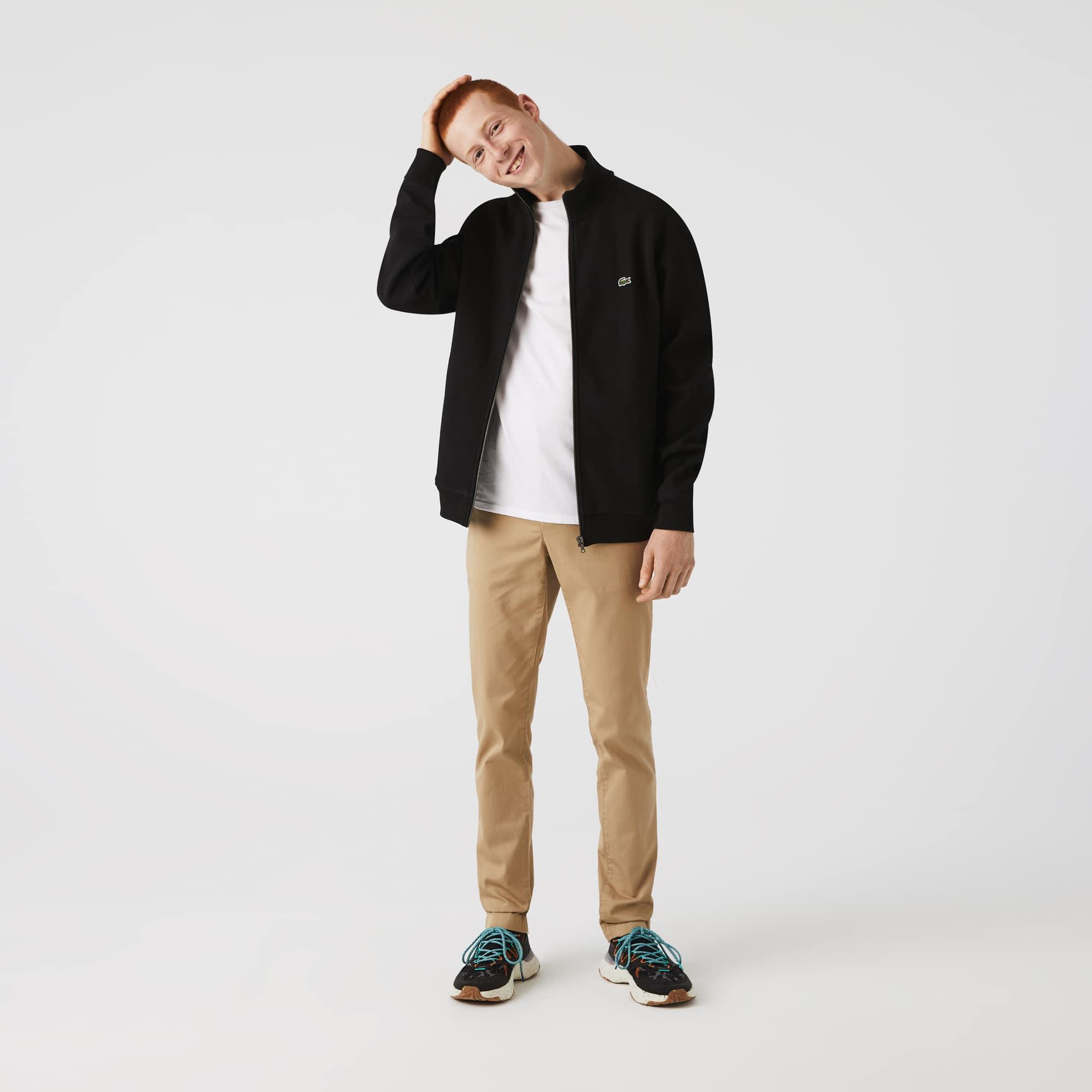 라코스테 맨 플리스 자켓 Lacoste Mens Zippered Stand-Up Collar Pique Fleece Jacket