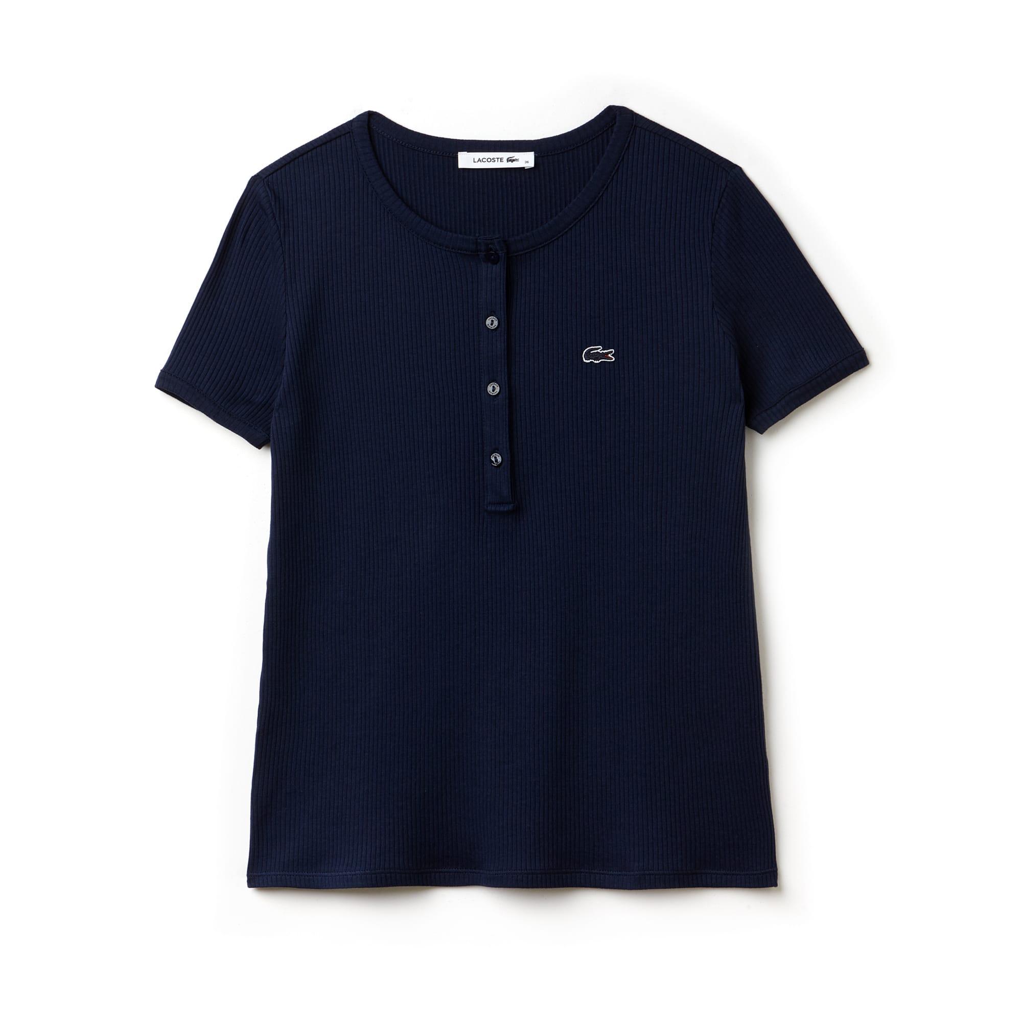 Women's Buttoned Ribbed Crew Neck Cotton Blend T-Shirt