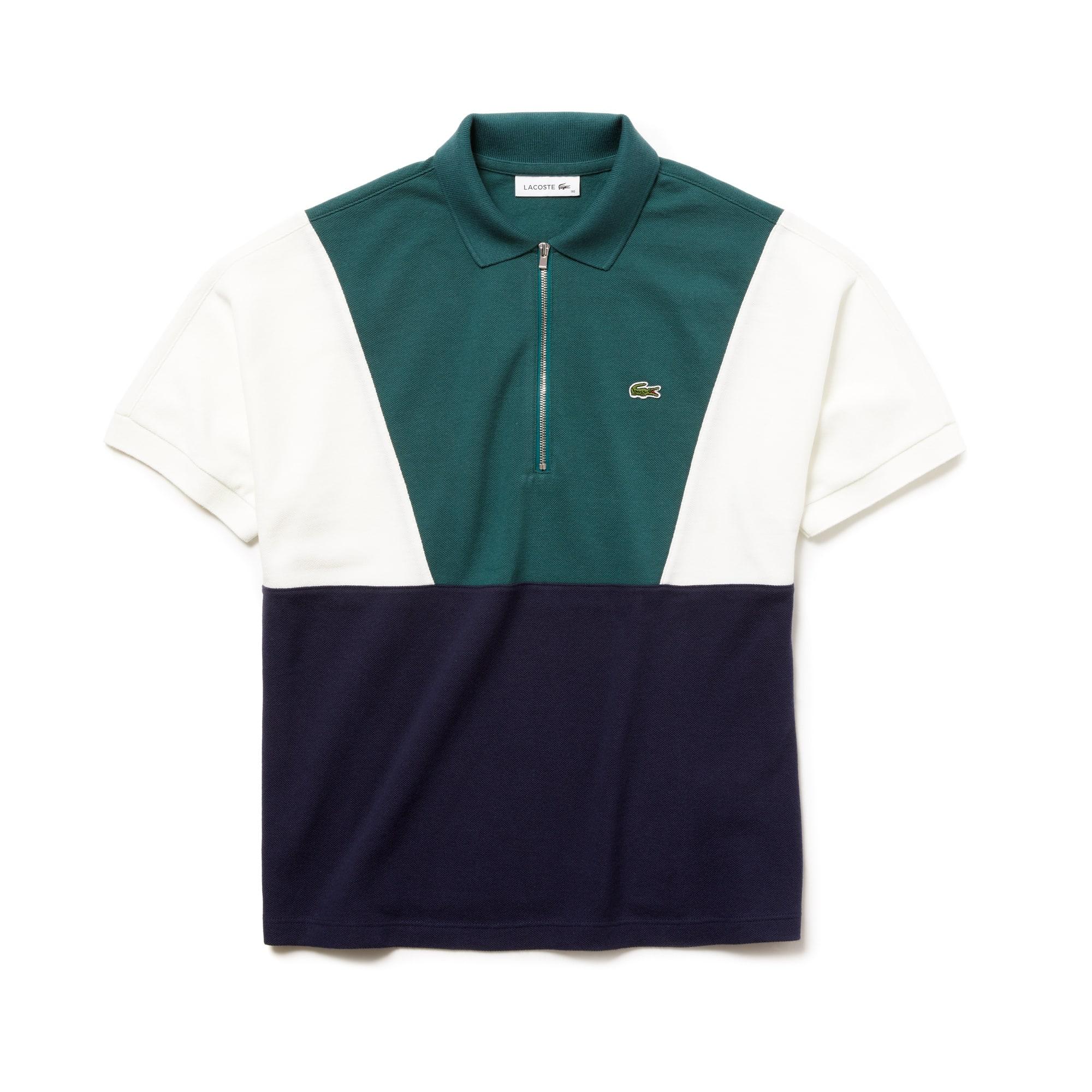 Women's Zip Neck Colorblock Terrycloth Piqué Polo by Lacoste