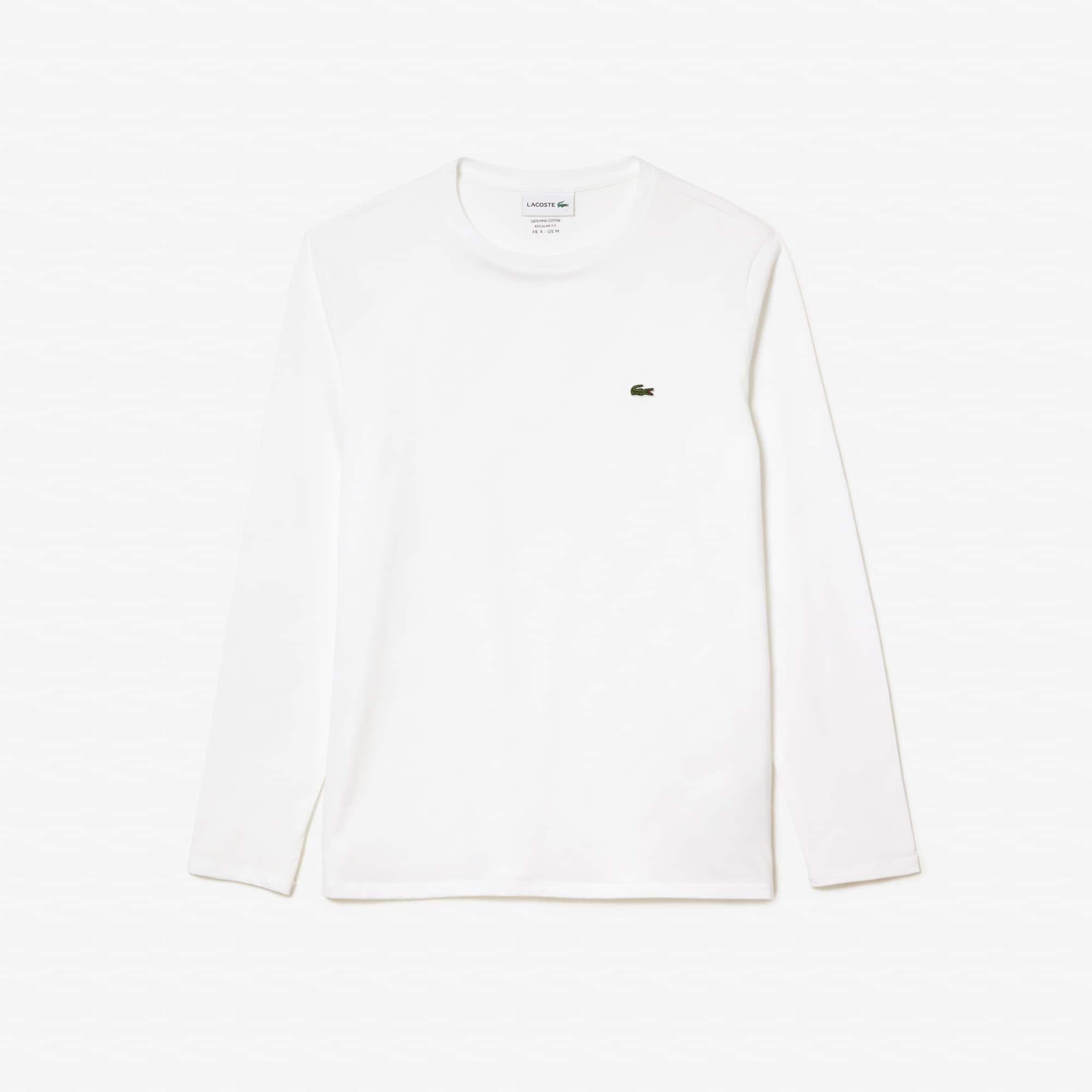 라코스테 긴팔 티셔츠 Lacoste Mens Crew Neck Pima Cotton Jersey T-shirt,white