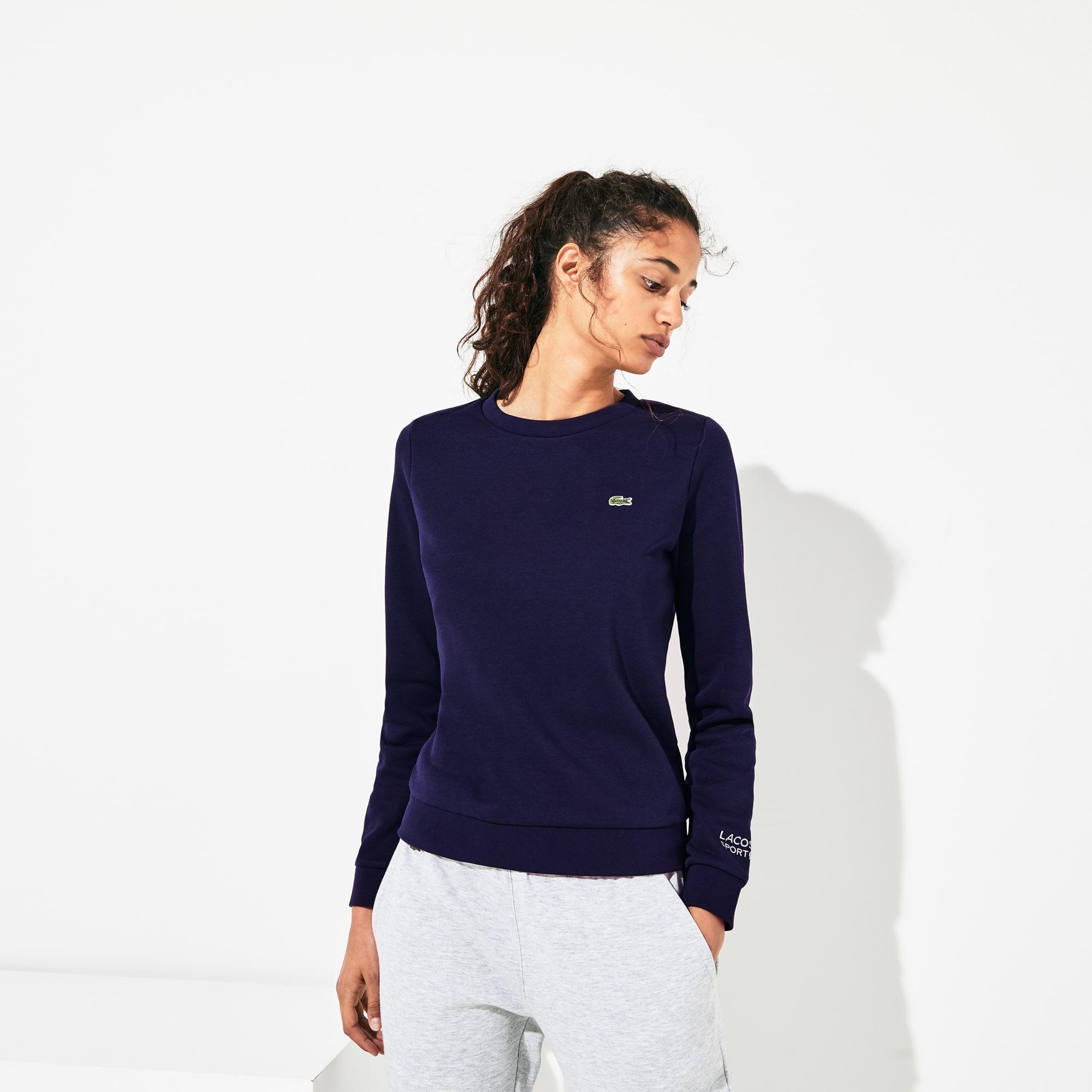 라코스테 Lacoste Women's SPORT Crew Neck Fleece Sweatshirt,Navy Blue - 166