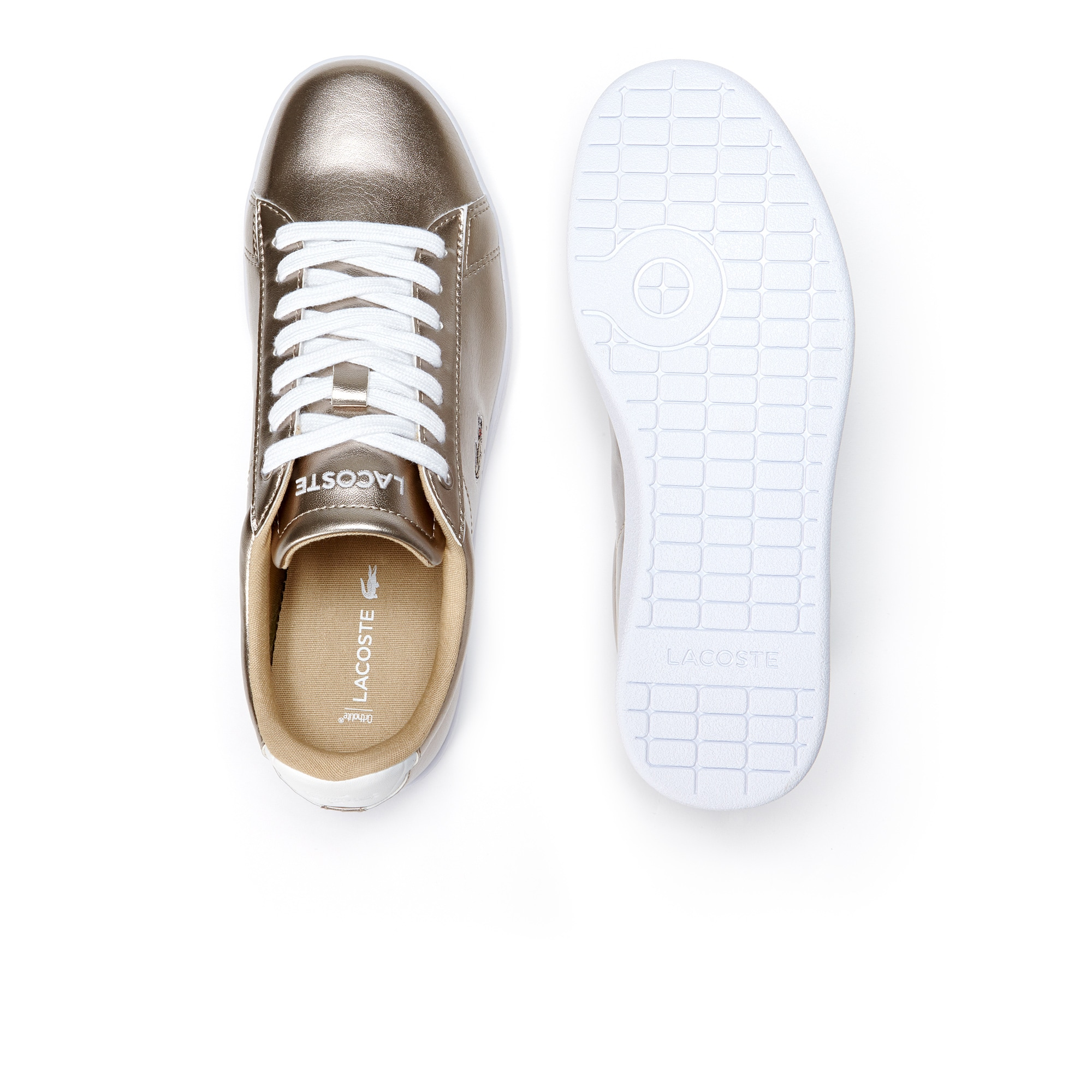 Lacoste WOMEN'S CARNABY EVO LOW-RISE METALLIC LEATHER SNEAKERS S19EiZ9NcE