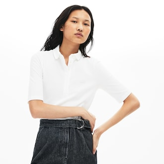 라코스테 우먼 5부 폴로 셔츠, 스트레치 미니 피케 - 화이트 (슬림핏) Lacoste Womens Slim Fit Stretch Mini Pique Polo Shirt