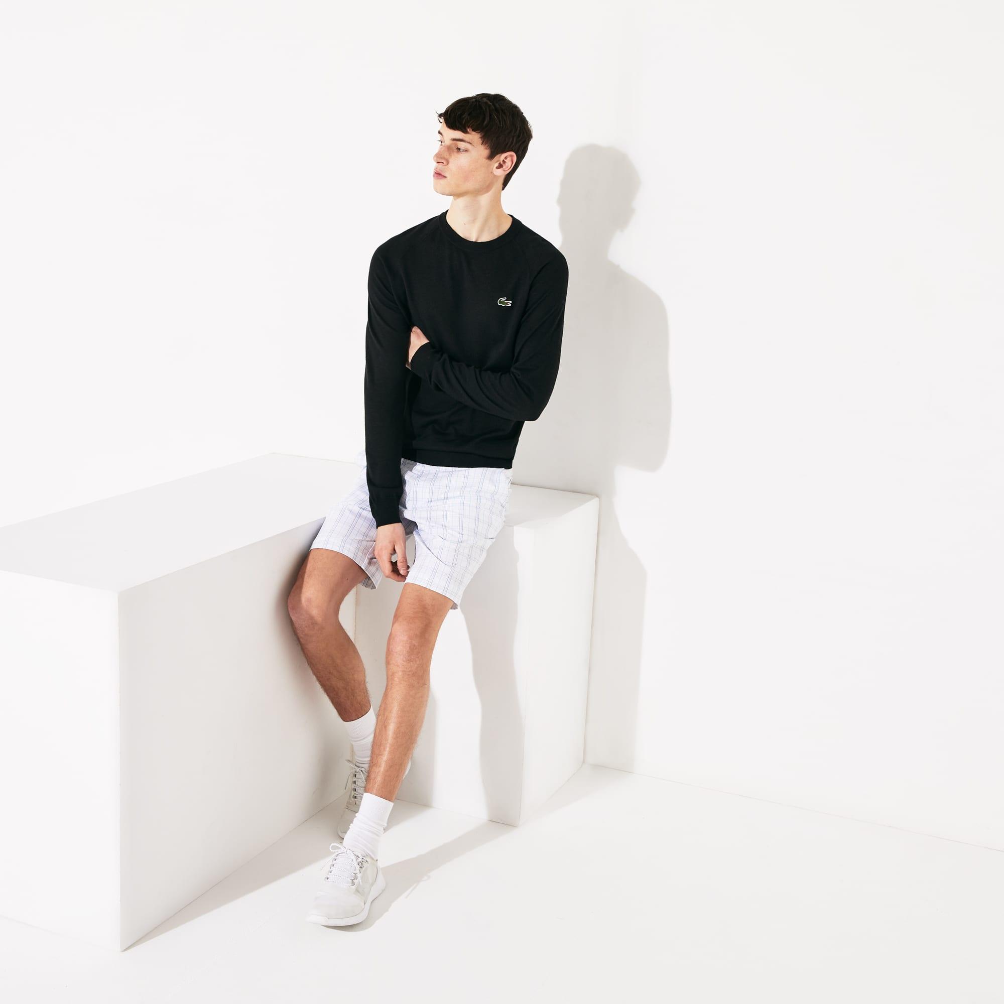 라코스테 Lacoste Mens SPORT Breathable-Knit Golf Sweater,Black - 031