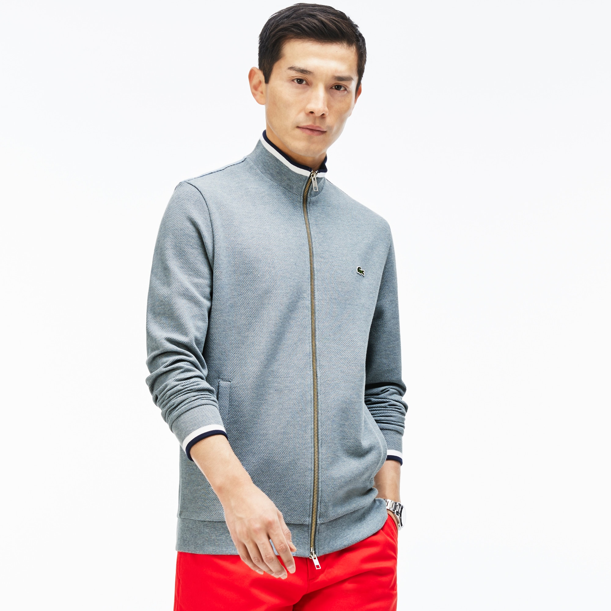 Men's Contrast Finishes Zippered Fleece Sweatshirt