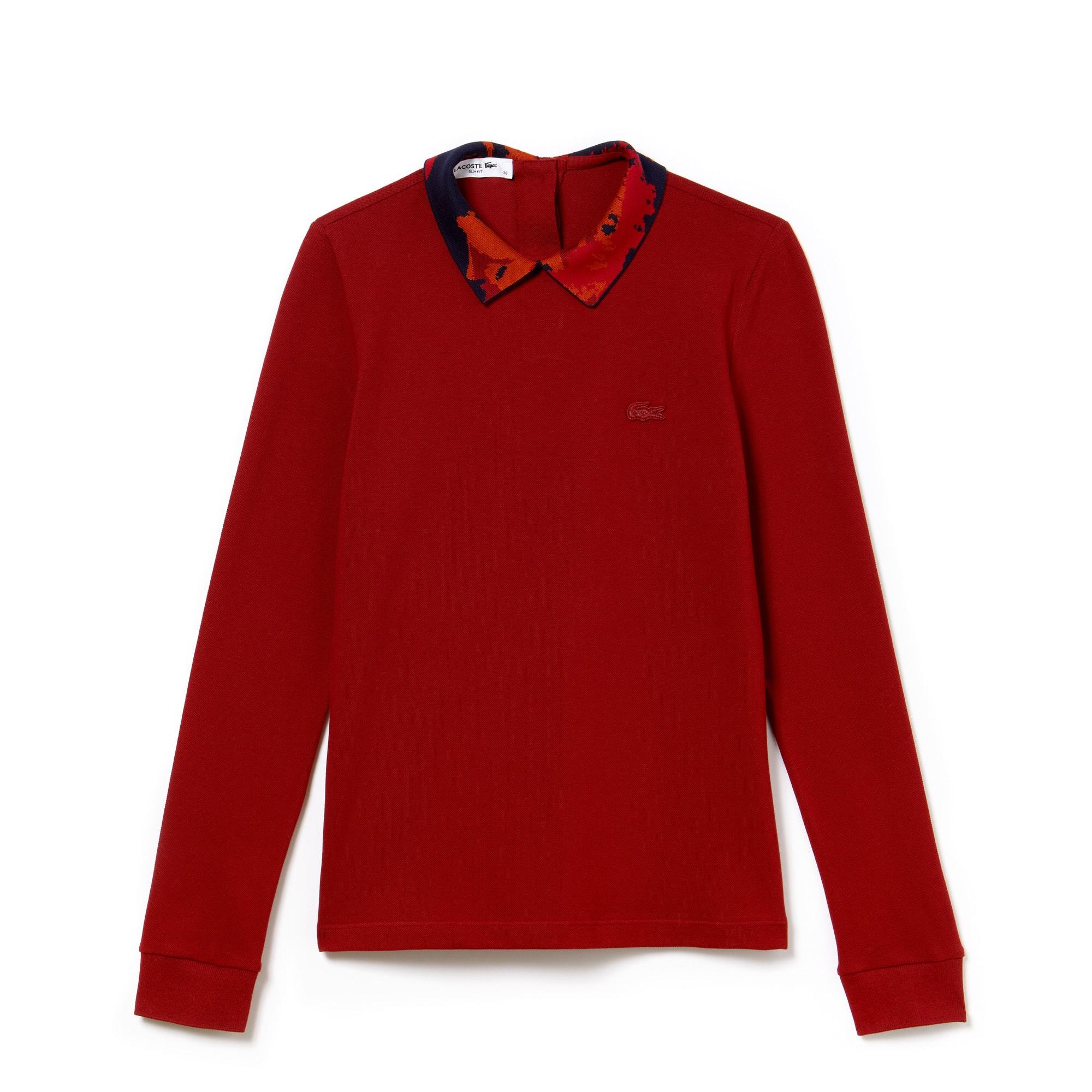 라코스테 긴팔 카라티 Lacoste Womens Jacquard Collar Stretch Mini Pique Polo,PASSION