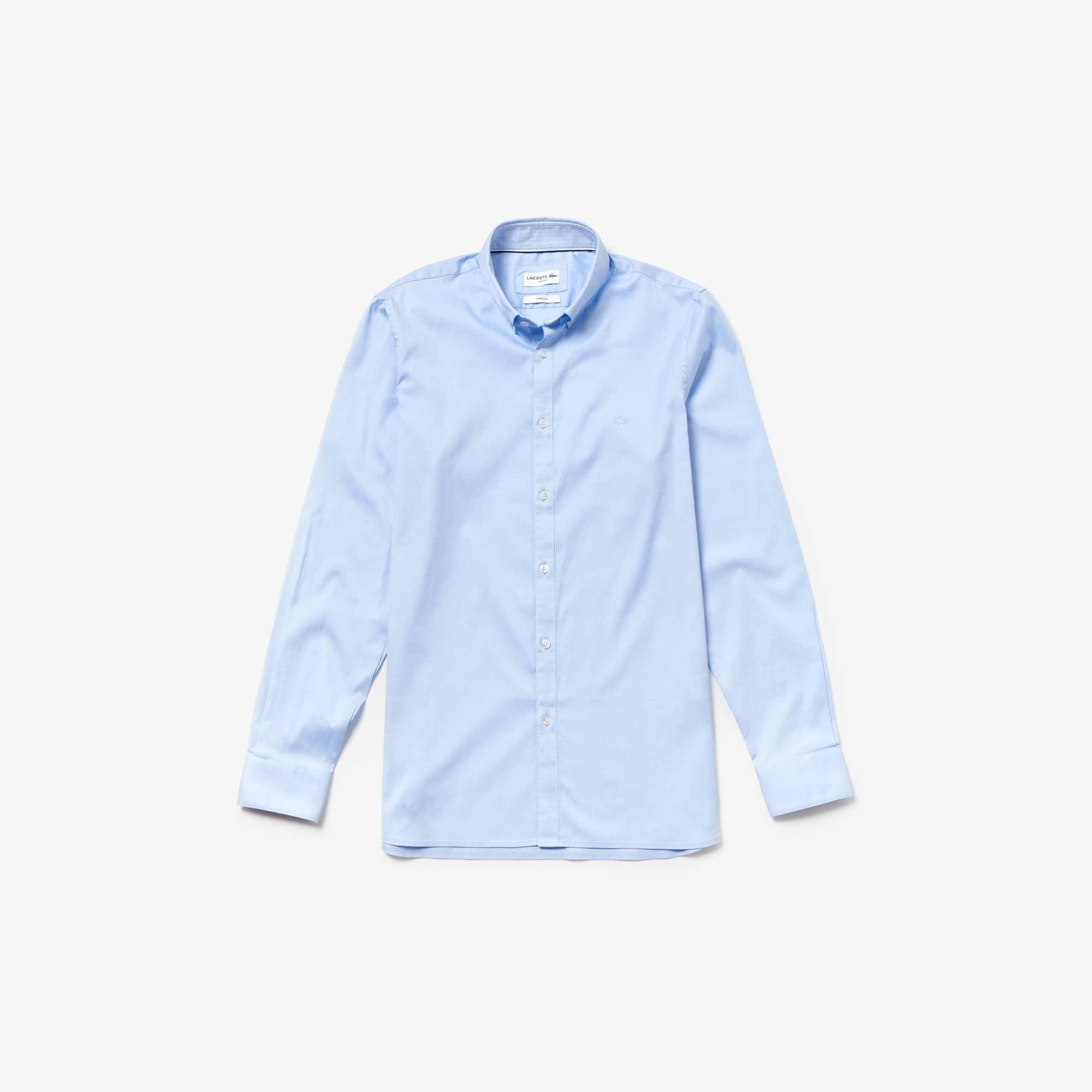 라코스테 Lacoste Mens Slim Fit Stretch Cotton Pinpoint Shirt,light blue