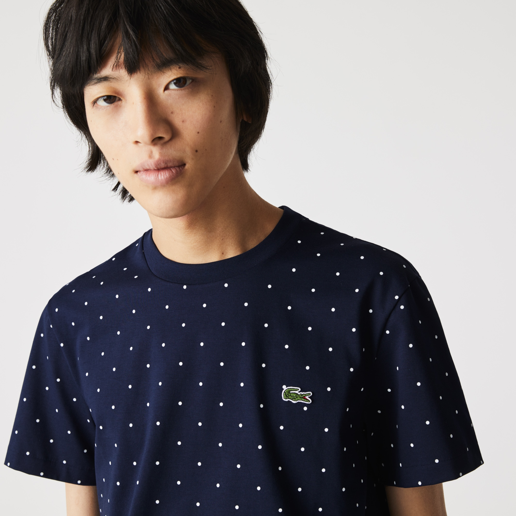 라코스테 Lacoste Men's Crewneck Polka Dotted Cotton T-shirt,Navy Blue 166