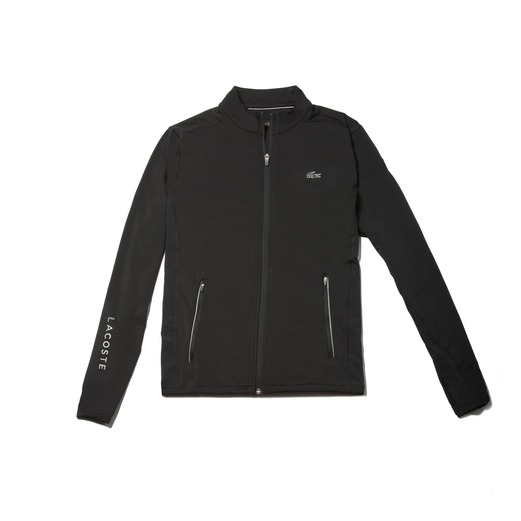 라코스테 Lacoste Mens SPORT Tennis Zippered Stretch Jersey Sweatshirt,black/black