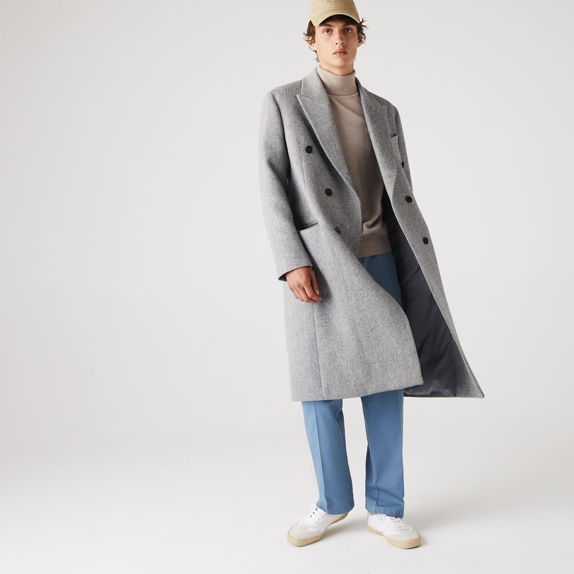 라코스테 울 헤링본 롱 더블 코트Lacoste Mens Long Double-Breasted Herringbone Wool Coat