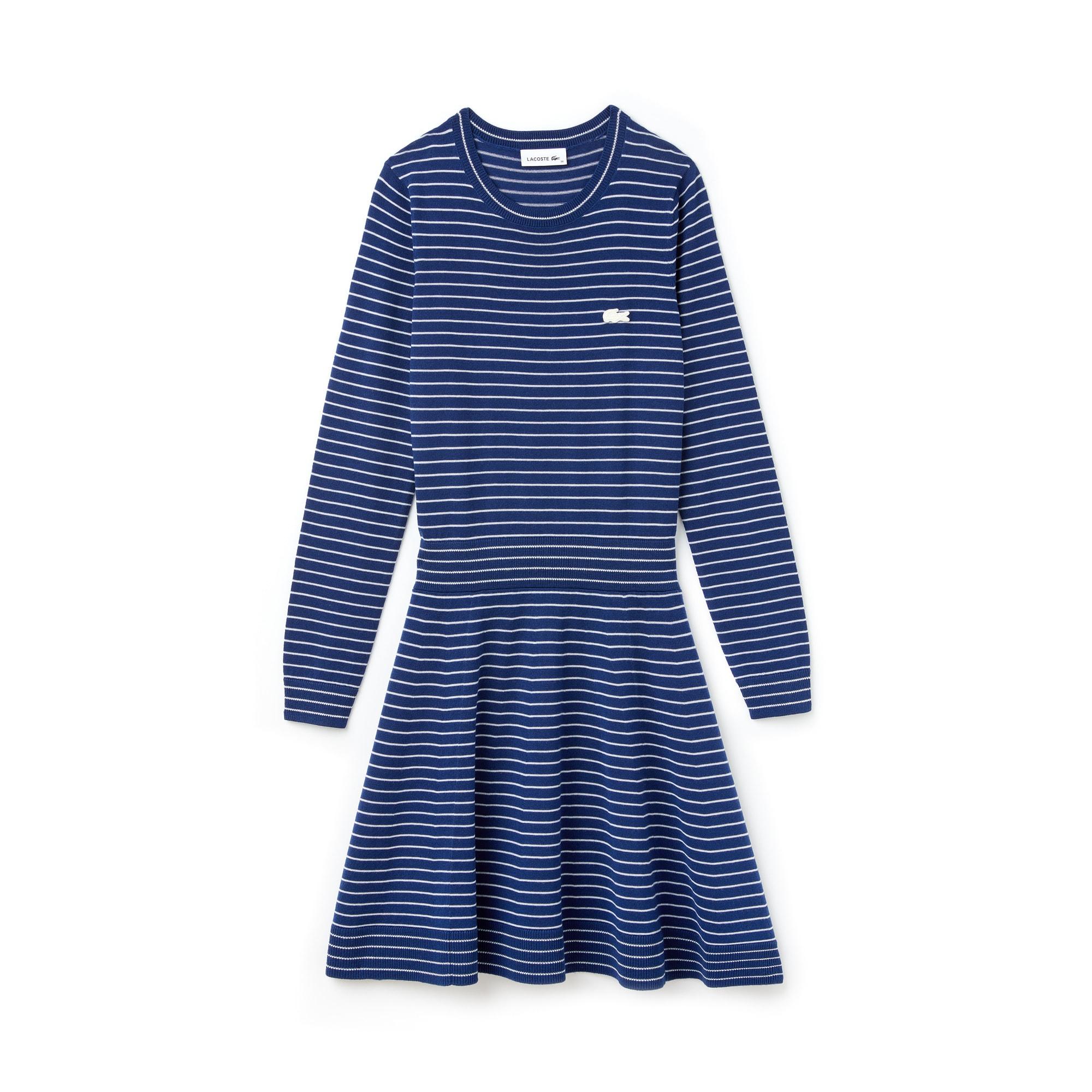 라코스테 Lacoste Womens Fitted Wool Jersey Sweater Dress,inkwell/flour