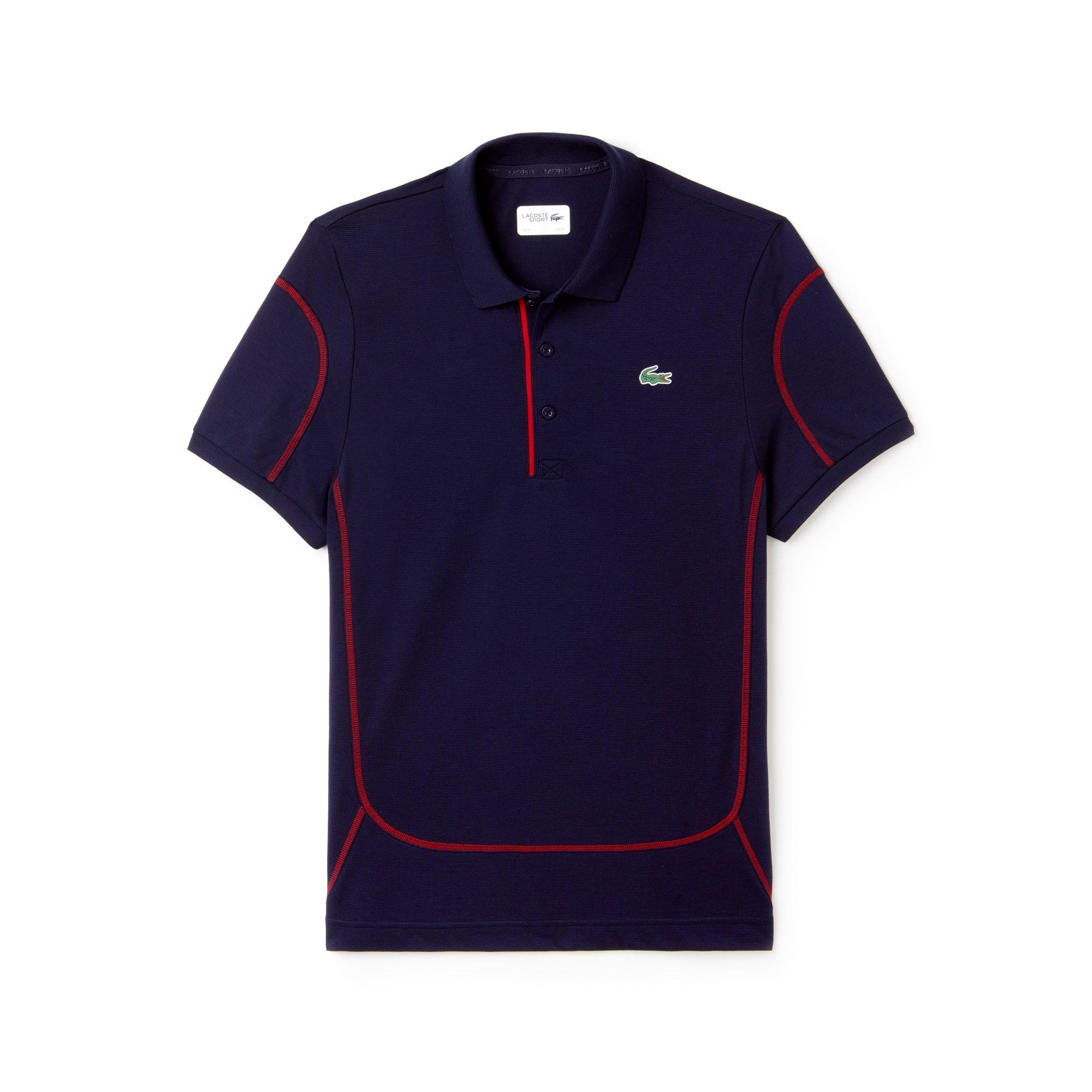 라코스테 Lacoste Mens SPORT Contrast Stitching Light Cotton Tennis Polo,navy blue/lighthouse red