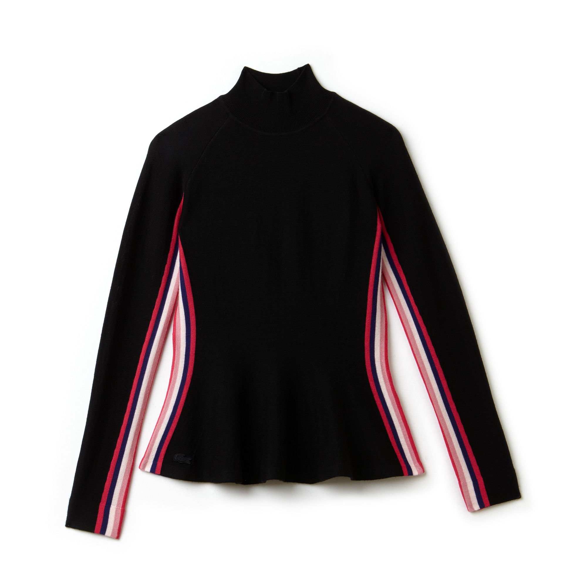 Women's Stand-Up Collar Wool Jersey Peplum Colored Bands Sweater