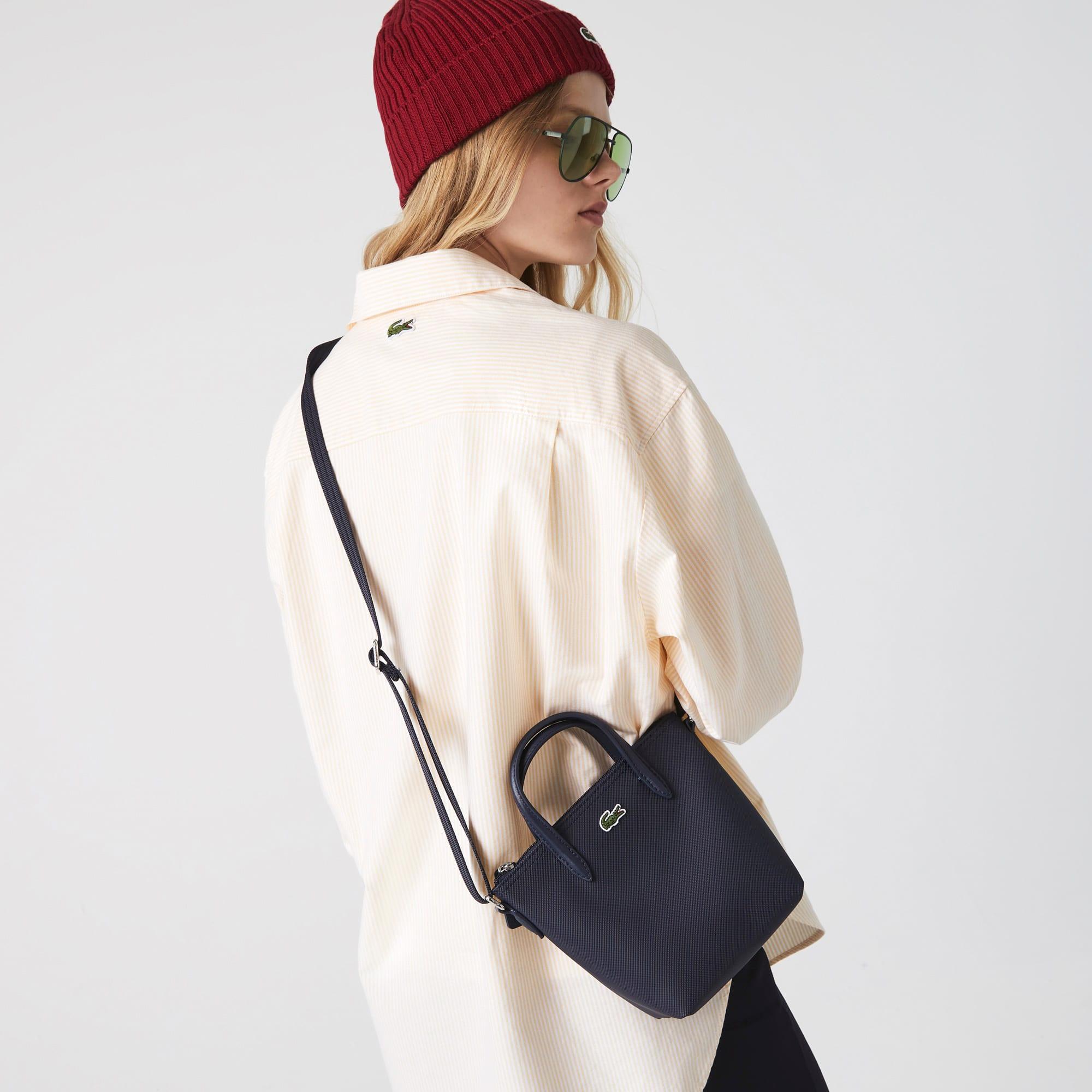 라코스테 Lacoste Womens L.12.12 Concept Petit Pique Coated Canvas Mini Zip Tote Bag