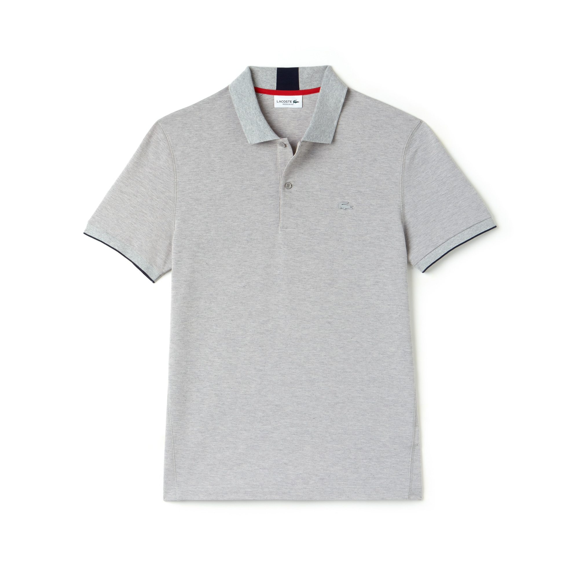 라코스테 Lacoste Mens Motion Regular Fit Technical Petit Pique Polo,pluvier chine/navy blue-p