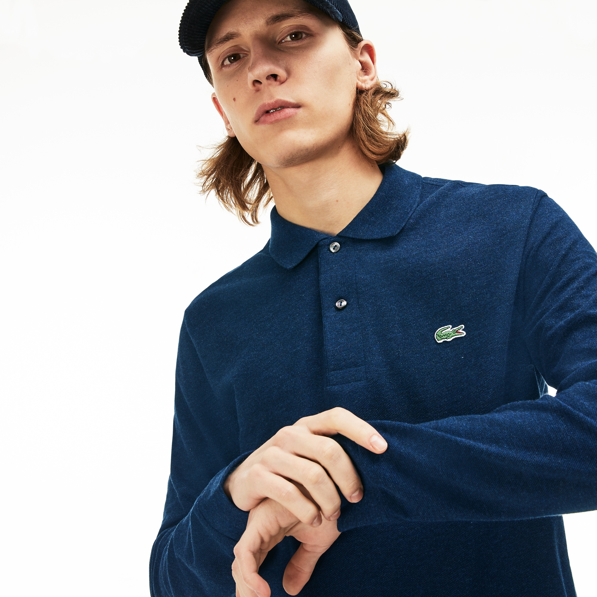 classic fit long-sleeve Polo Shirt in marl petit piqué
