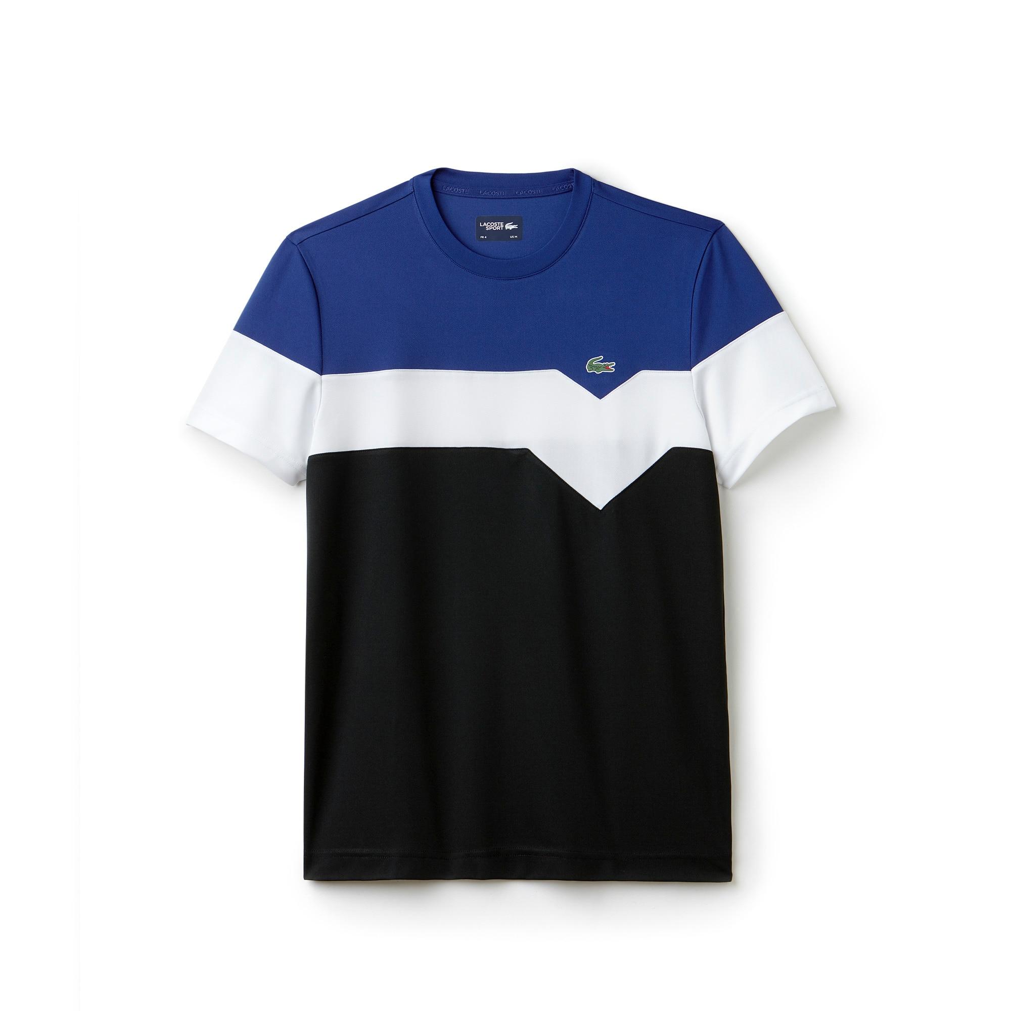 라코스테 Lacoste Mens SPORT Tennis Colorblock Technical Pique T-shirt,OCEAN/WHITE-BLACK