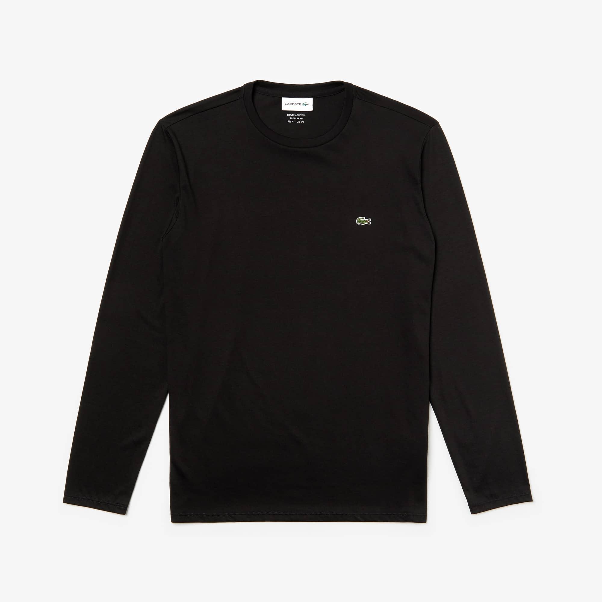 라코스테 긴팔 티셔츠 Lacoste Mens Crew Neck Pima Cotton Jersey T-shirt,black