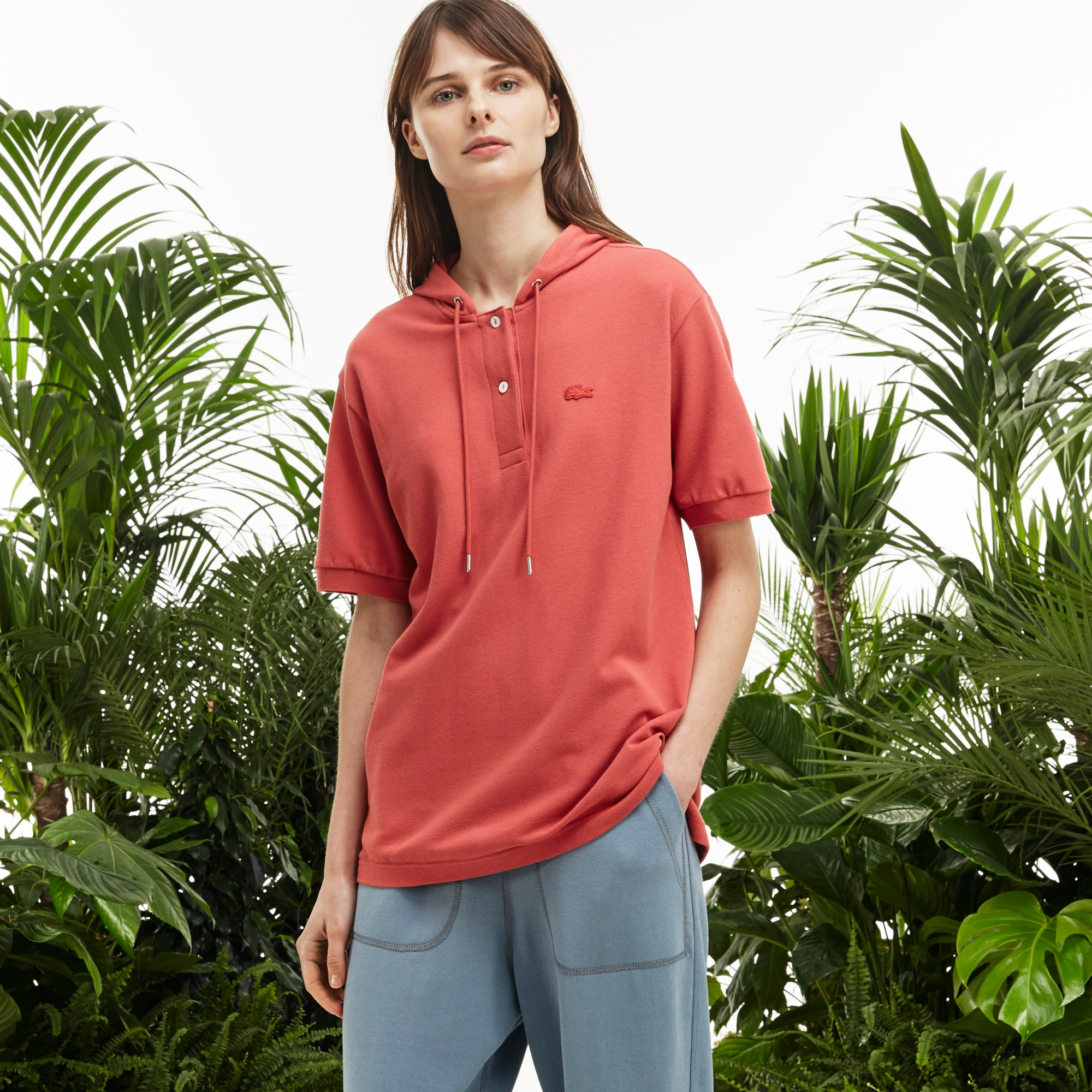 Women's Fashion Show Hooded Pleated Panel Polo Shirt