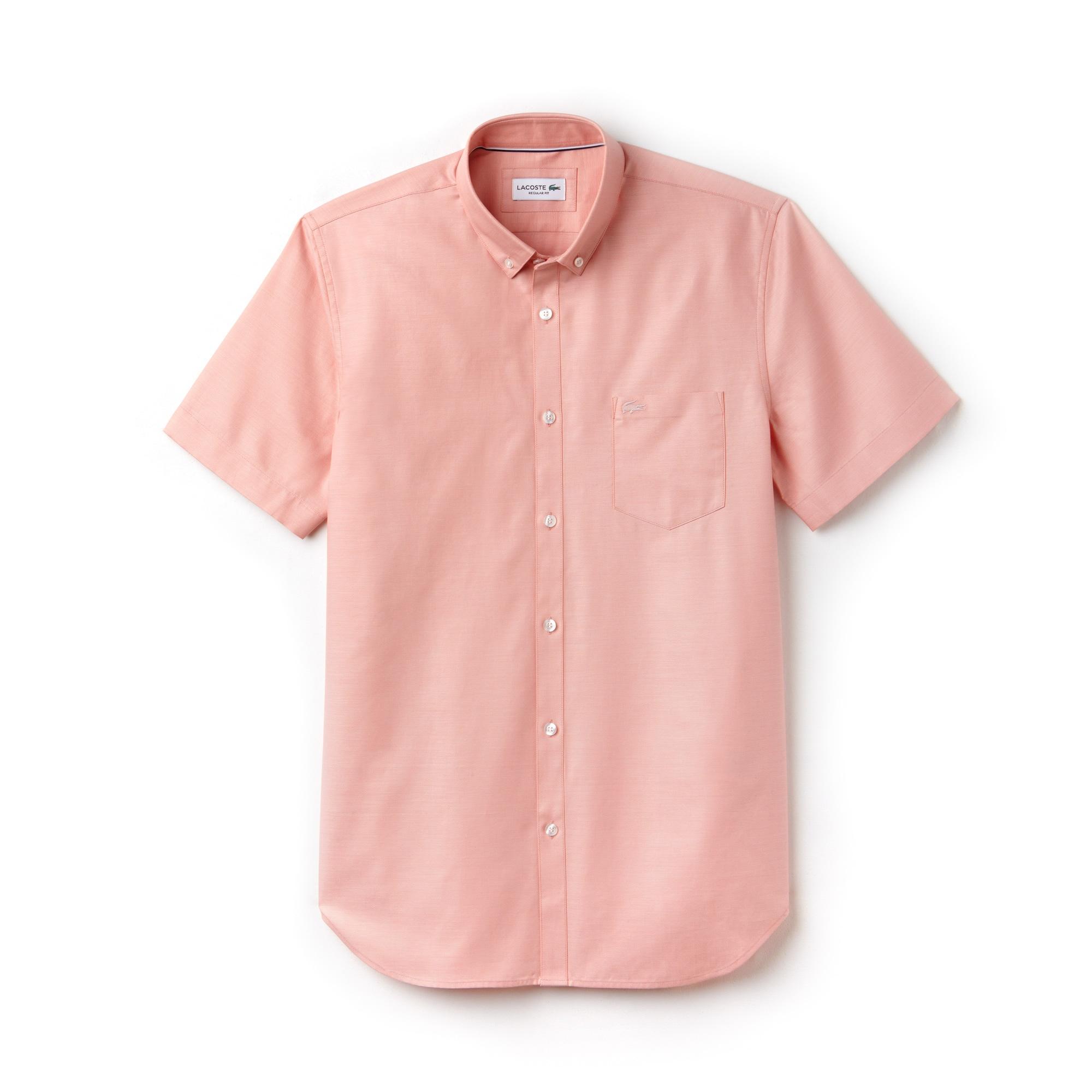라코스테 Lacoste Mens Regular Fit Mini Pique Shirt,pink / white