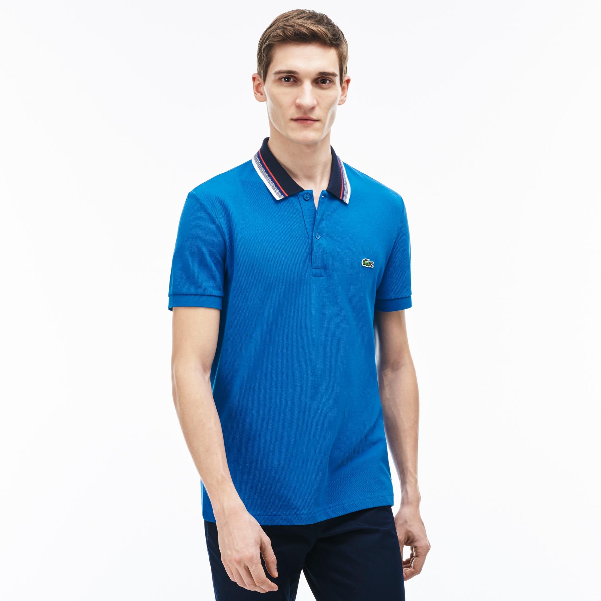 Men's Regular Fit Petit Piqué Striped Collar Polo Shirt