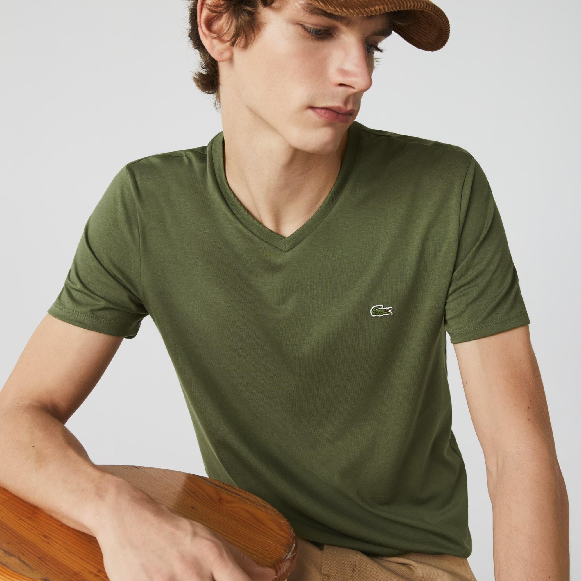 Lacoste Men/'s V-neck Pima Cotton T-shirt YELLOW• 6XP TH6710-51 NEW 2019