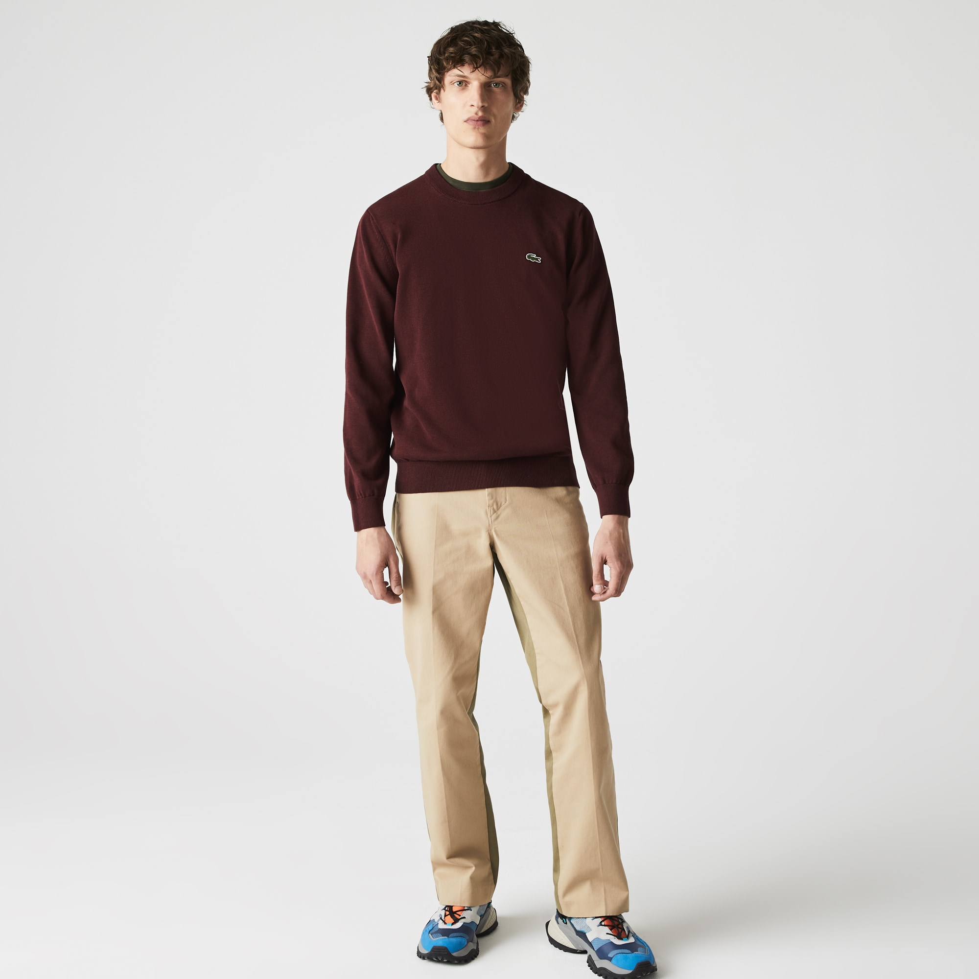 라코스테 Lacoste Mens Organic Cotton Crew Neck Sweater