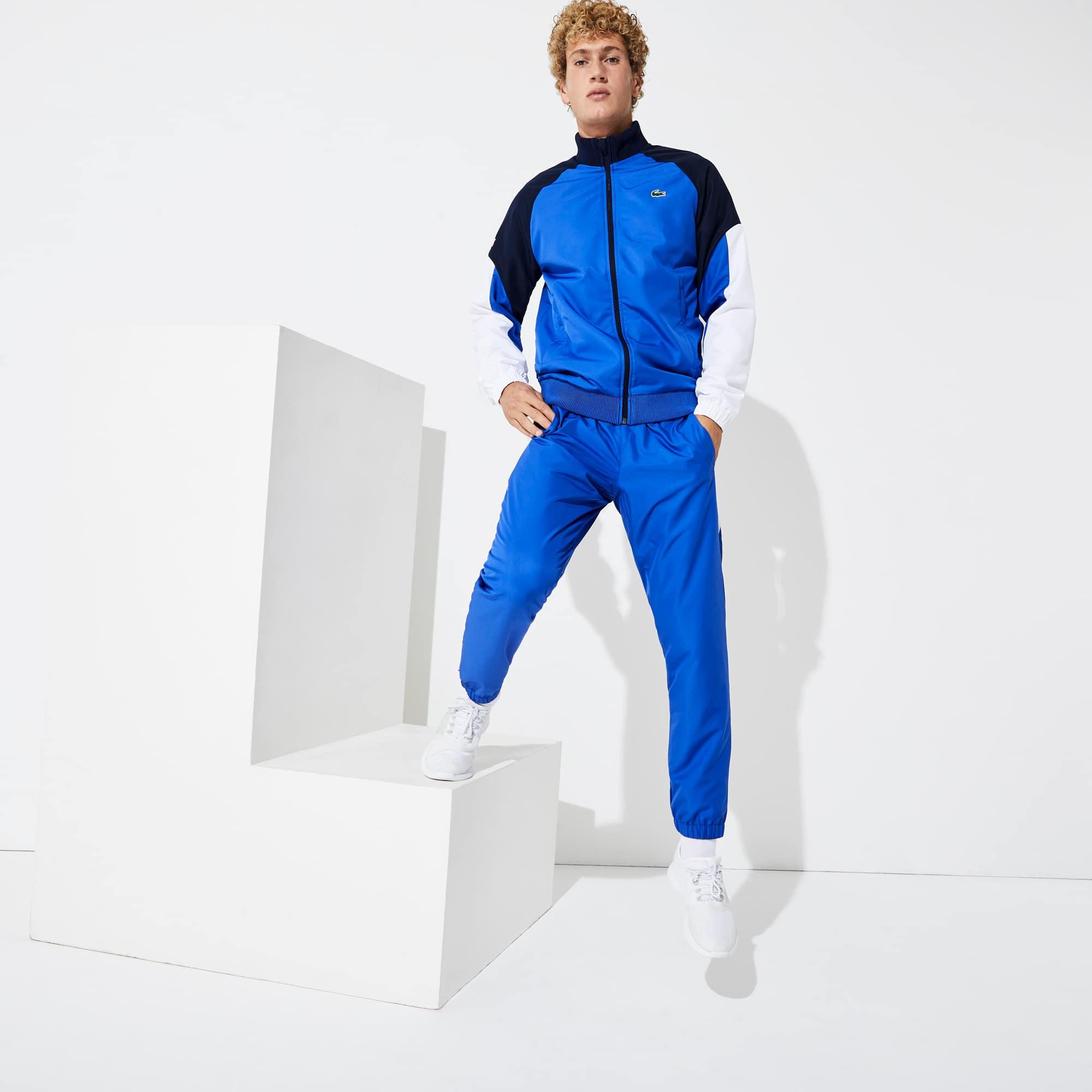 라코스테 Lacoste Men's SPORT Colorblock Jersey-Lined Tracksuit,Blue / Navy Blue / White - YEW