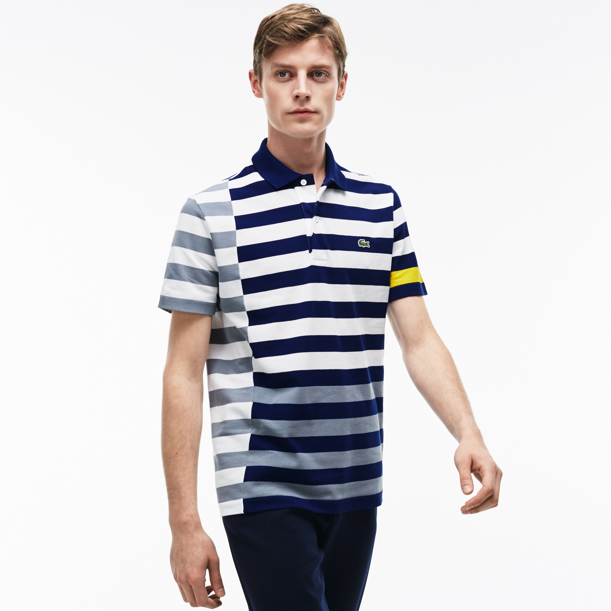 Men's  Regular Fit Colorful Off-center Stripes Polo