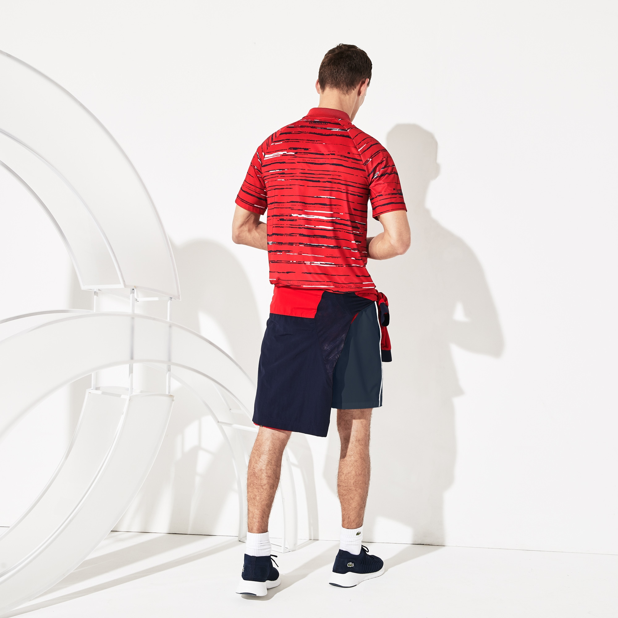 Men's SPORT Novak Djokovic Striped Jersey Polo