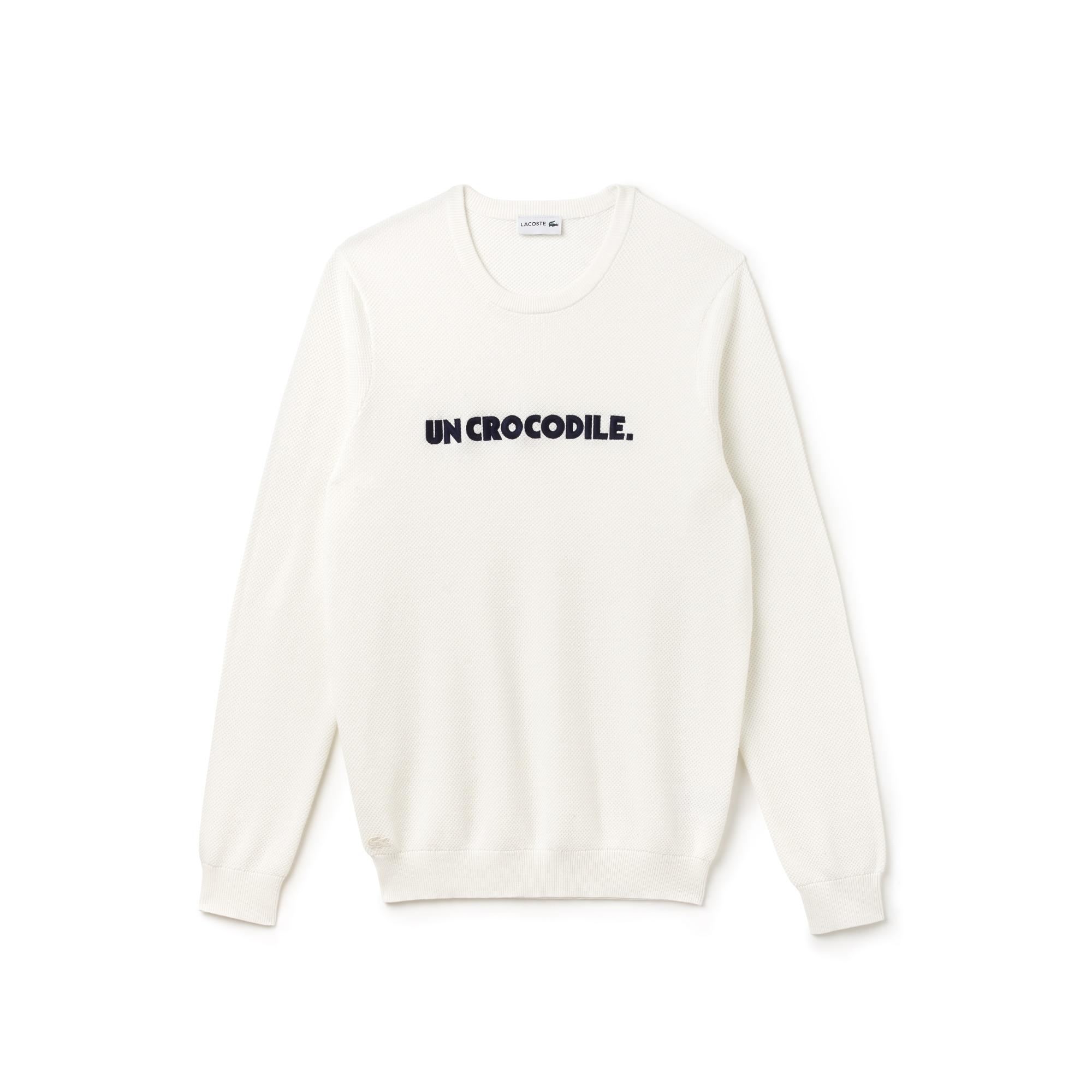 Men's Un Crocodile Lettering Cotton Piqué Sweatshirt