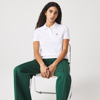 라코스테 Lacoste Womens Classic Fit Soft Cotton Petit Pique Polo Shirt,White