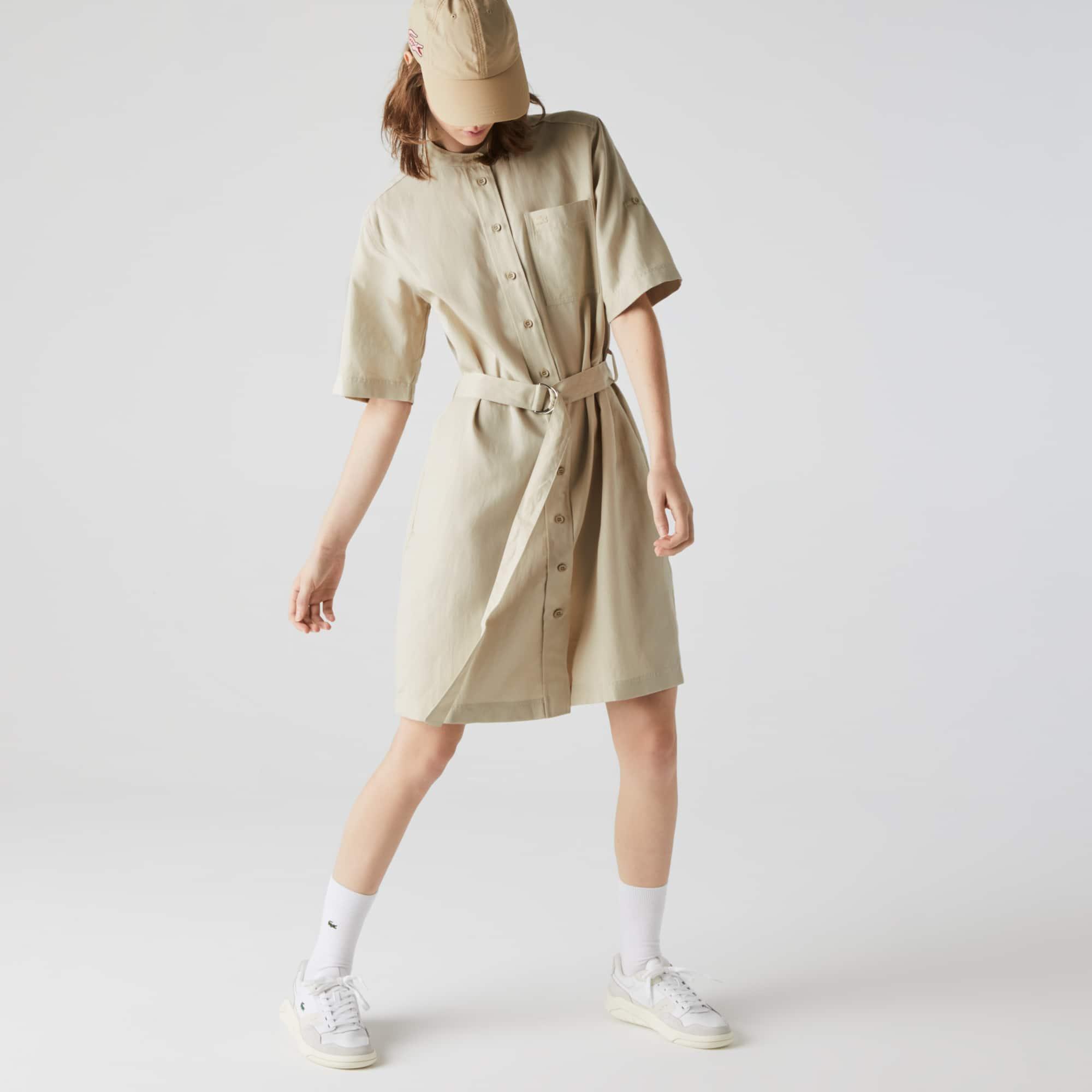 라코스테 만다린 카라 셔츠 원피스 Lacoste Women's Mandarin Collar Flowing Twill Shirt Dress,Beige E8M