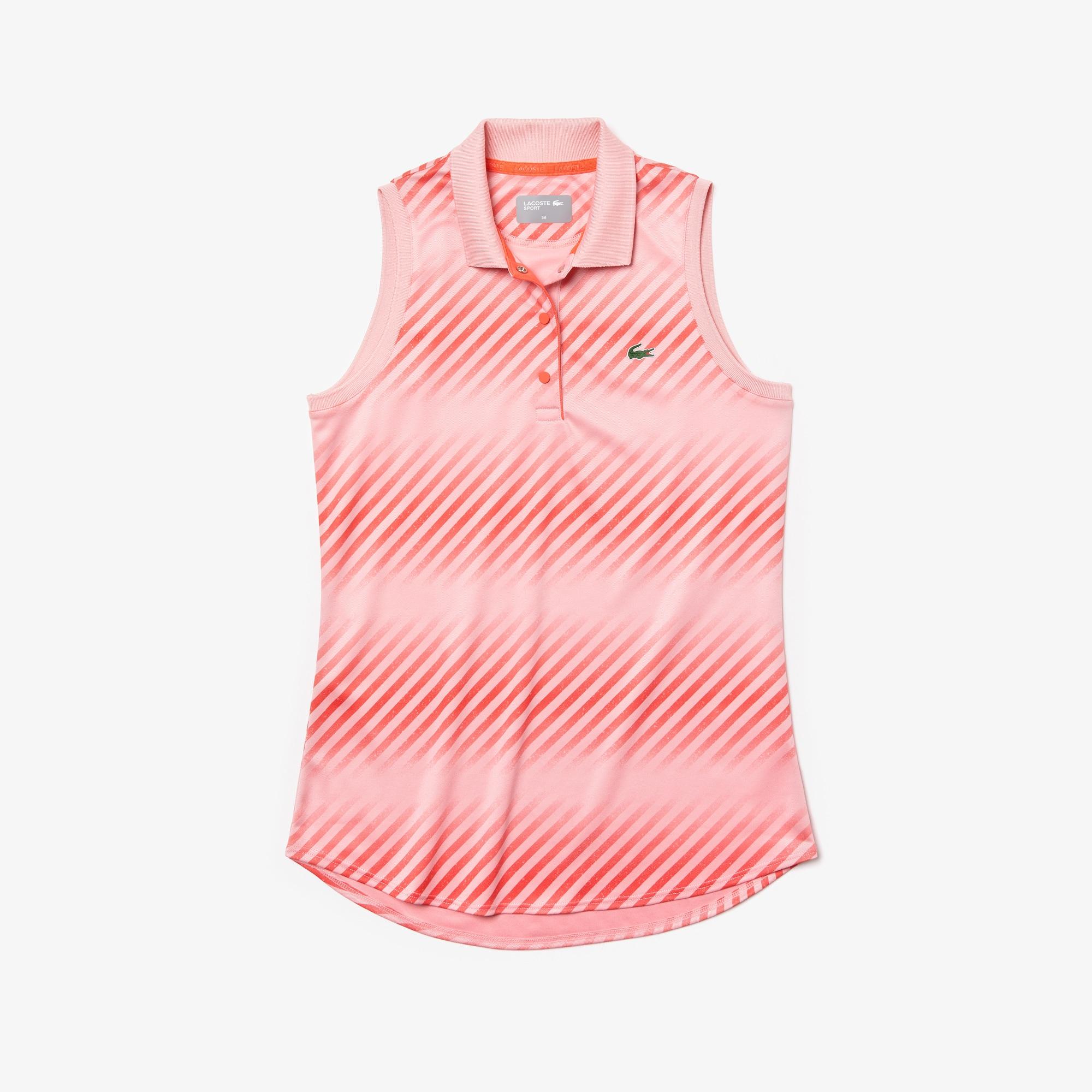 라코스테 스포츠 민소매 테니스 셔츠 Lacoste Womens SPORT Breathable Pique Tennis Polo,Pink / Red / Red - 6WV