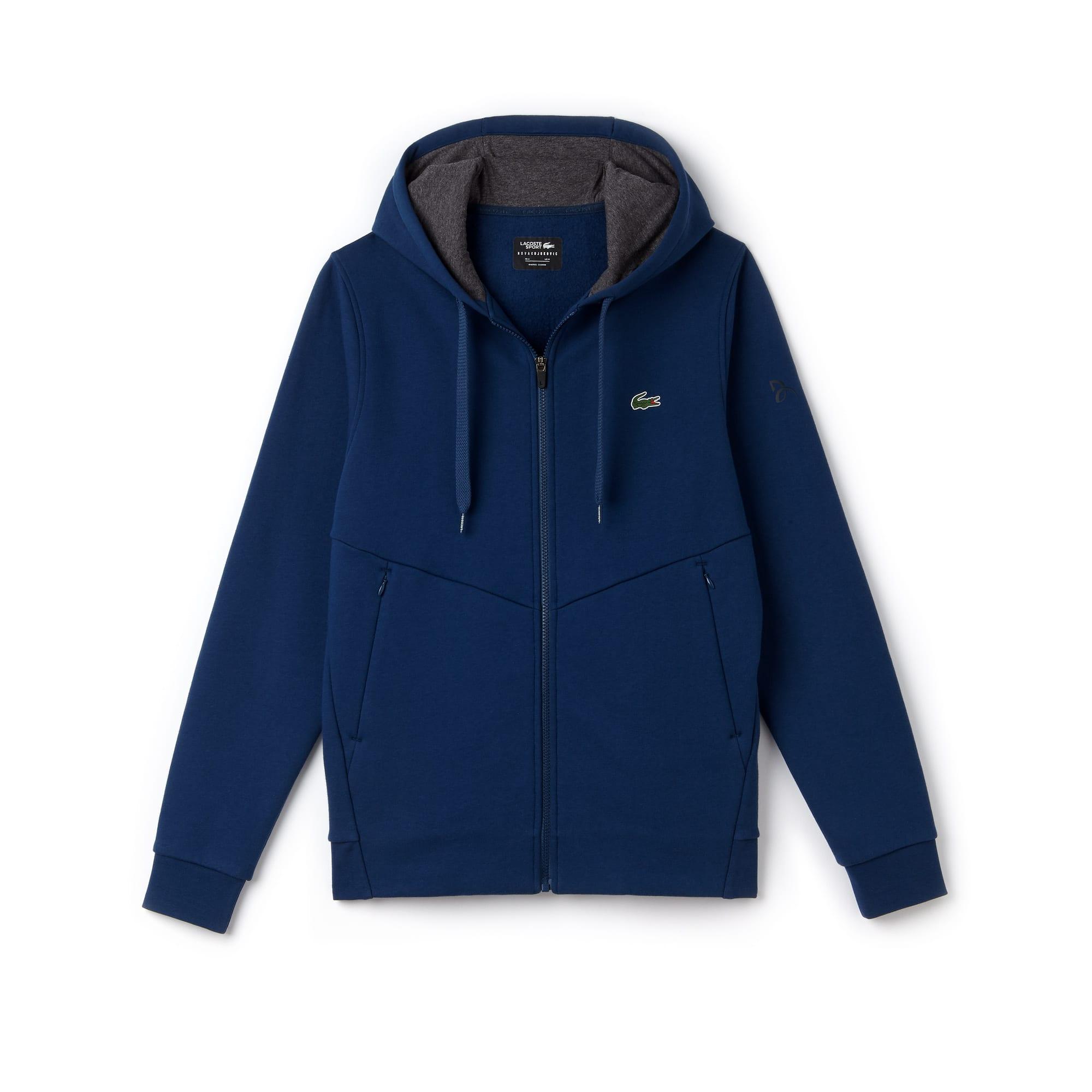라코스테 스포츠 집업 후드 스웻셔츠 Lacoste Mens SPORT Technical Fleece Hooded Zip Sweatshirt - x Novak Djokovic Off Court Premium Edition,avon/pitch-black