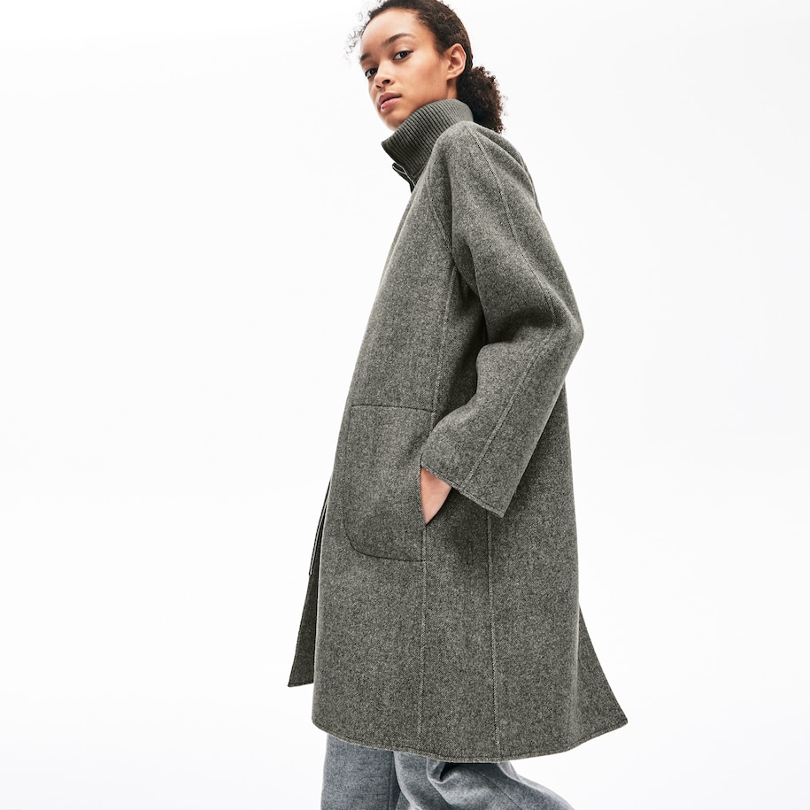 Women's Standup Collar Wool-Blend Zip Coat