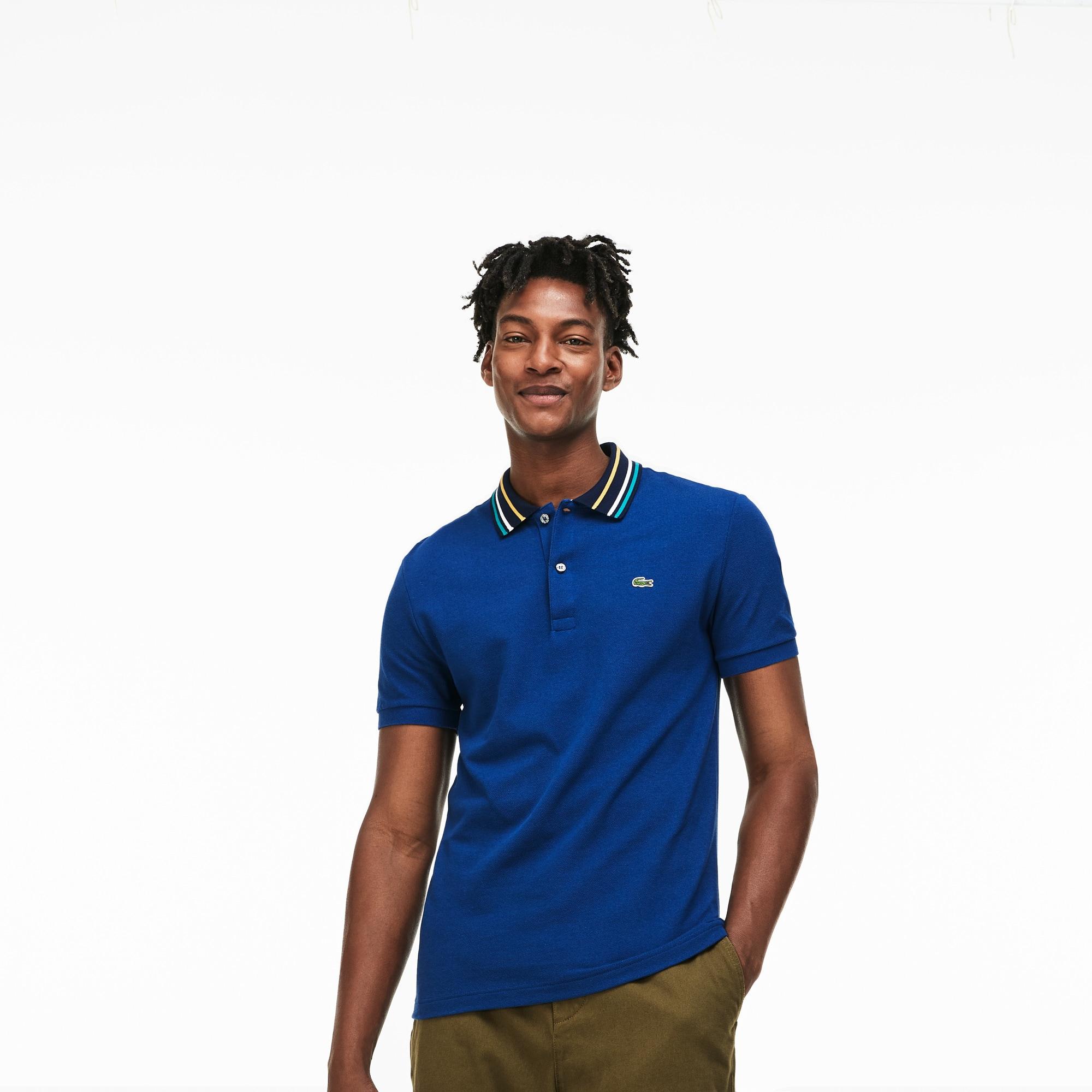 Men's Slim Fit Striped Contrast Collar Petit Piqué Polo