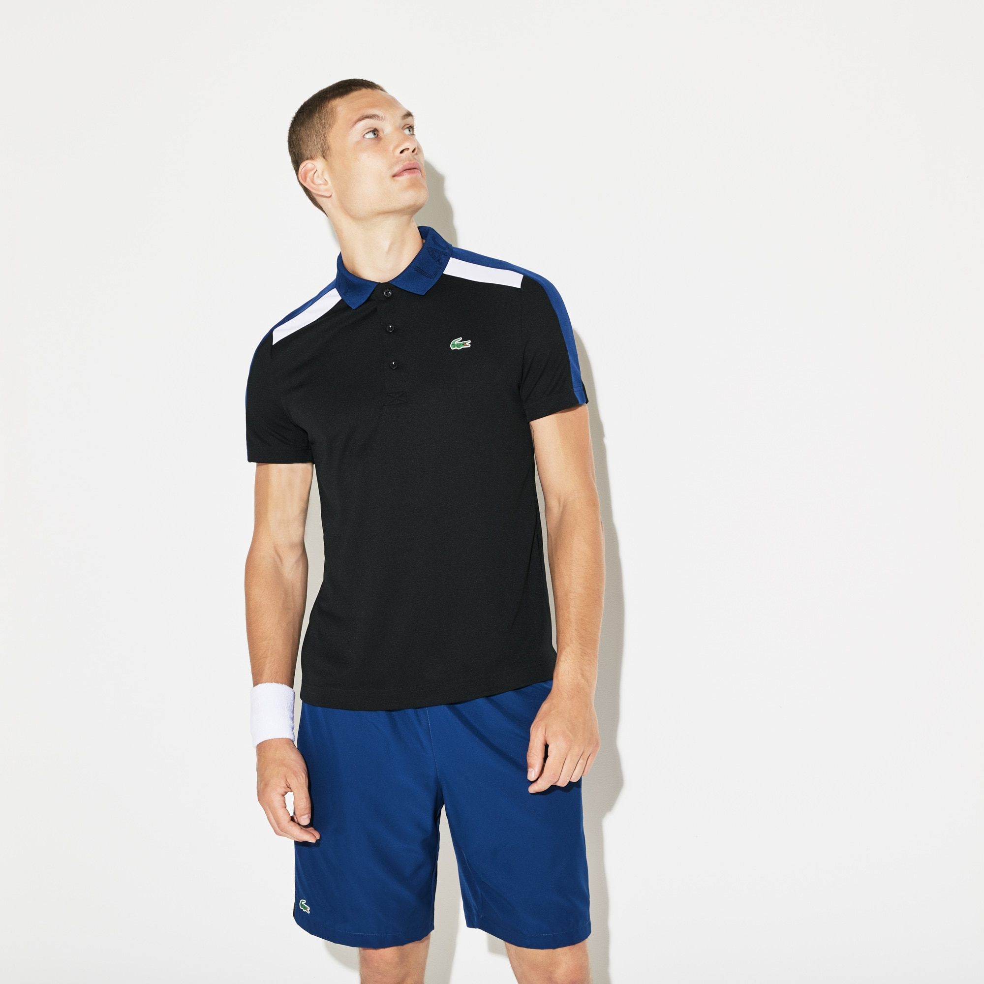 Men's SPORT Contrast Band Technical Piqué Tennis Polo