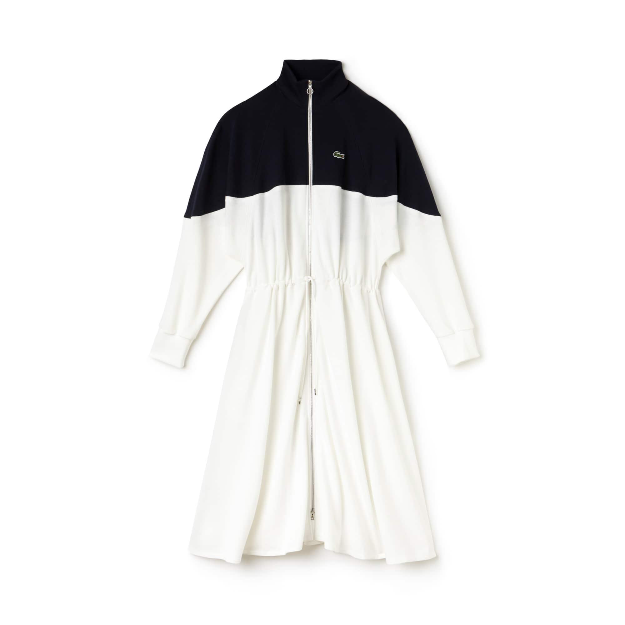 Women's Fashion Show Zippered Mid-Length Colorblock Piqué Dress
