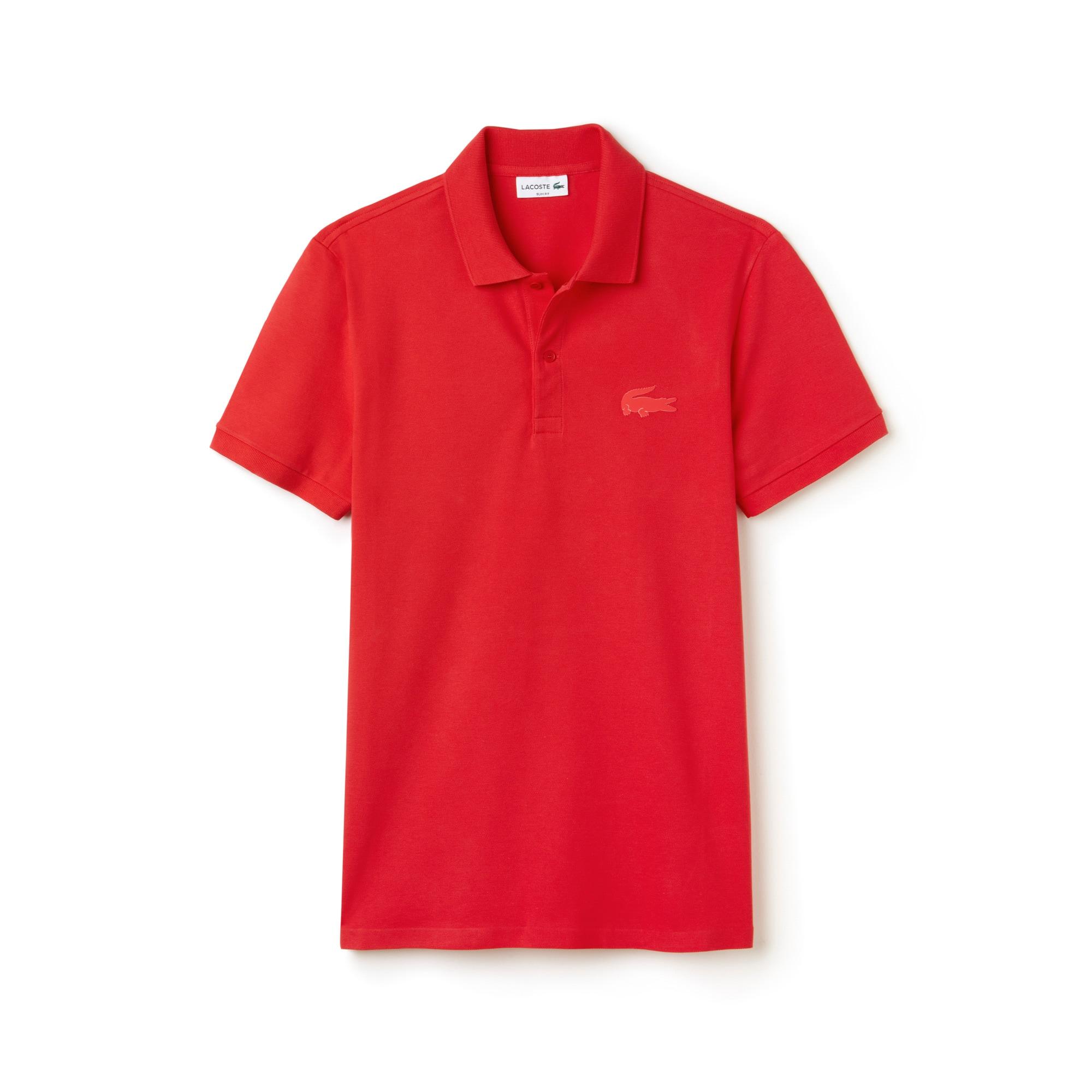 Men's Slim Fit Rubber Crocodile Stretch Piqué Polo Shirt