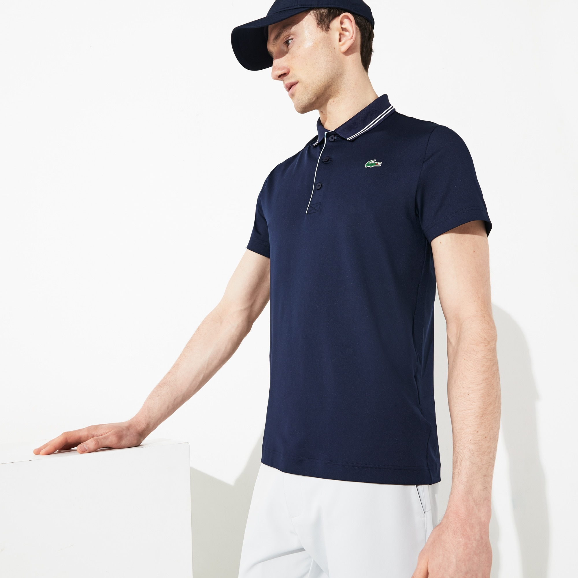 0a14e195f6 Men's SPORT Lettering Stretch Technical Jersey Golf Polo Shirt