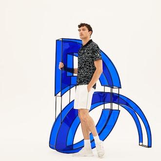 Mens SPORT Print Technical Jersey Polo - 라코스테 Lacoste x Novak Djokovic On Court Premium Edition,Black / White - 258