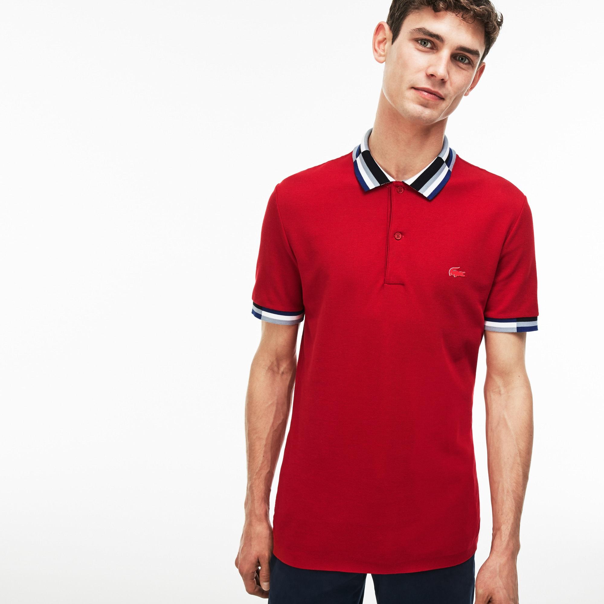 Men's  Slim Fit Colorblock Striped Knop Piqué Polo