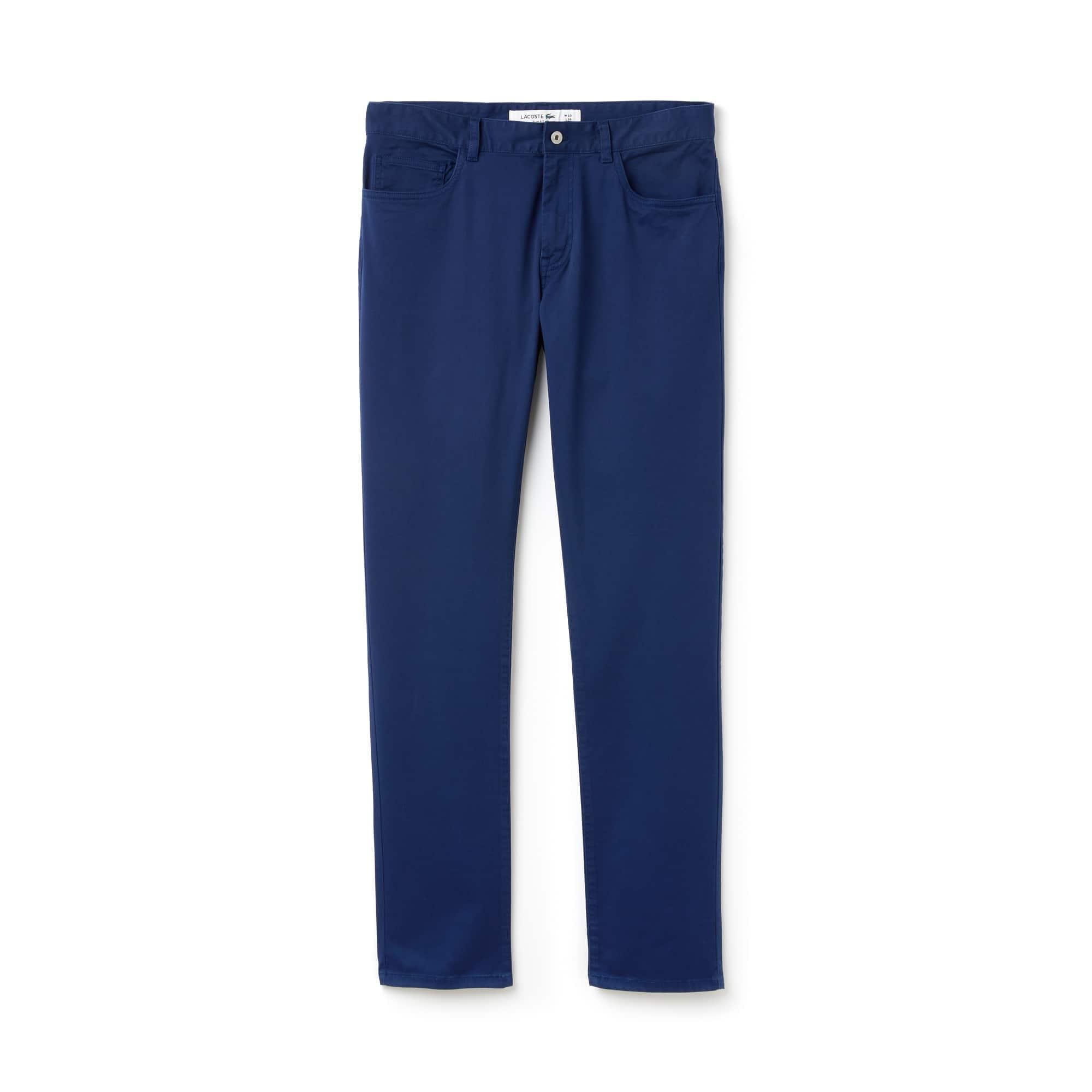 라코스테 Lacoste Mens Slim Fit Stretch Cotton Pants,navy blue