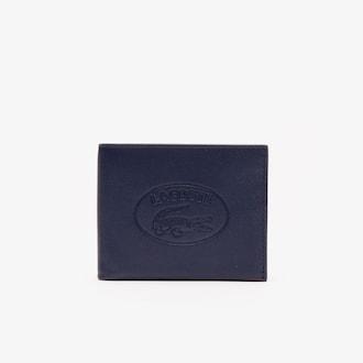 라코스테 Lacoste Mens L.12.12 Casual Embossed Lettering Leather 6 Card Wallet,DARK SAPPHIRE - B88